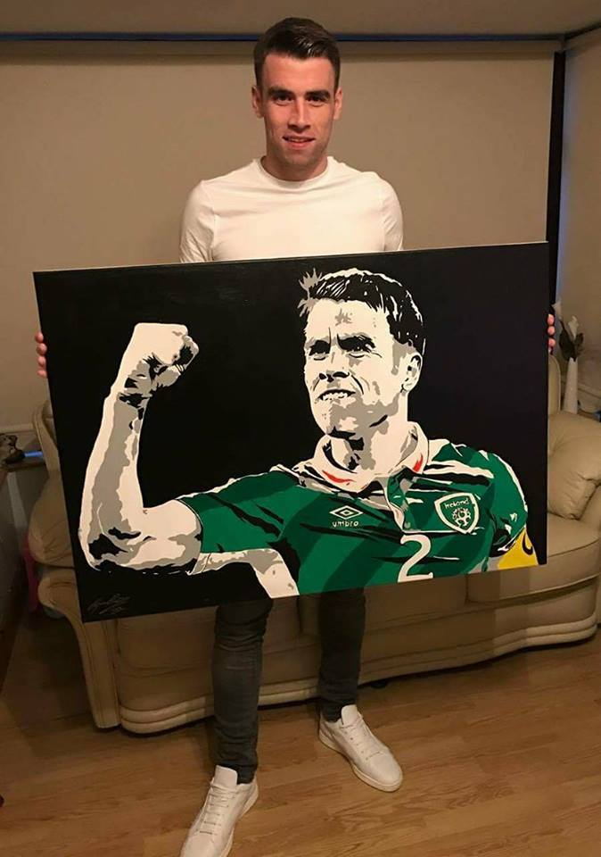 'LEADER OF MEN' - As a lifelong Irish football fanatic, it was with the greatest of honour that I presented this iconic portrait of our leader... The truly inspirational Seamus Coleman! I'm truly touched that my work is taking pride of place in the Coleman family home. Extra special on the same weekend Seamie was given freedom of his beloved Donegal!