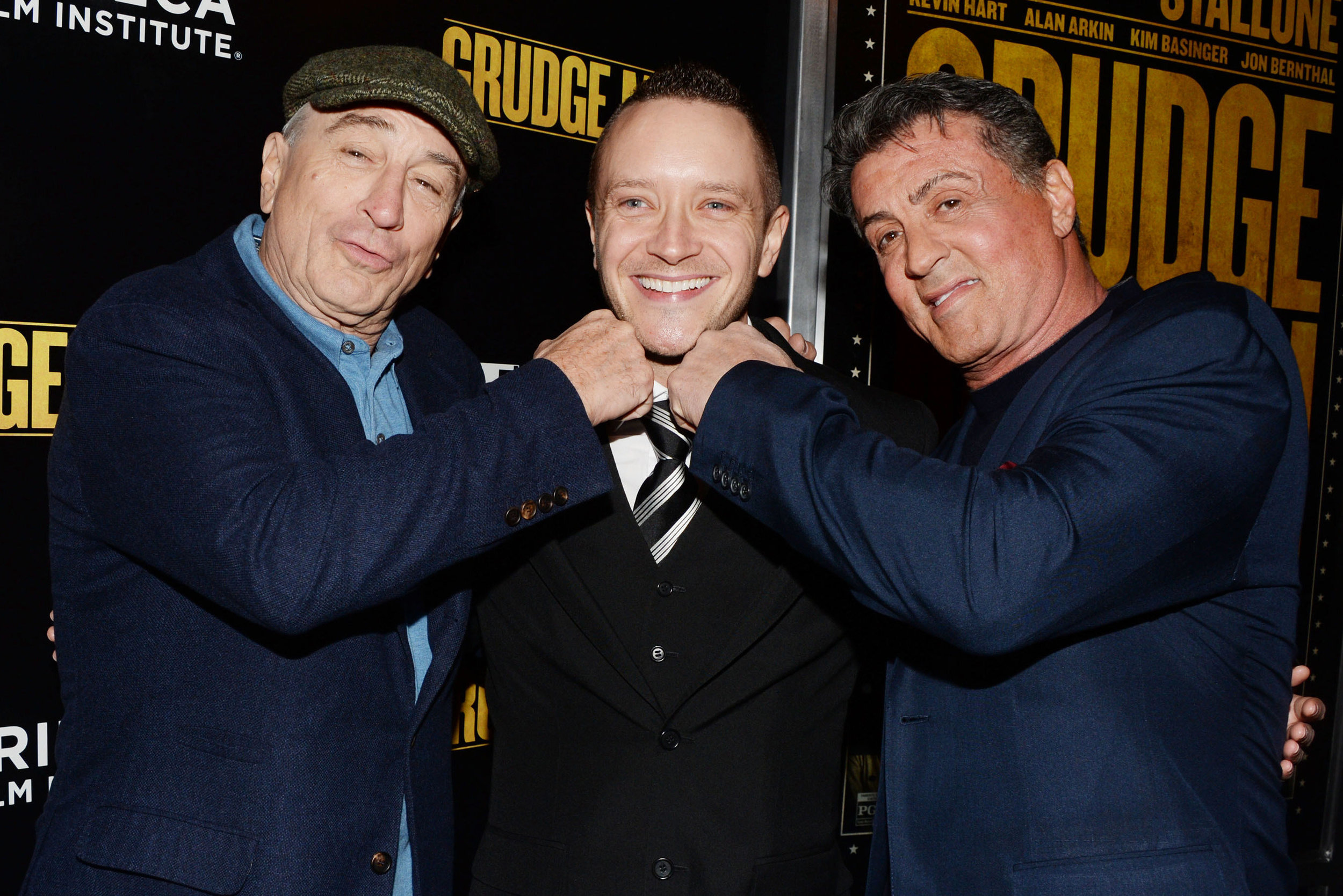'TAKING ONE ON THE CHIN FROM THE RAGING BULL & ROCKY'! - Celebrating the World Premiere of 'Grudge Match'in NYC with the legendary Robert De Niro & Sylvester Stallone. I'll be forever grateful to both men for the time and guidance offered to me.