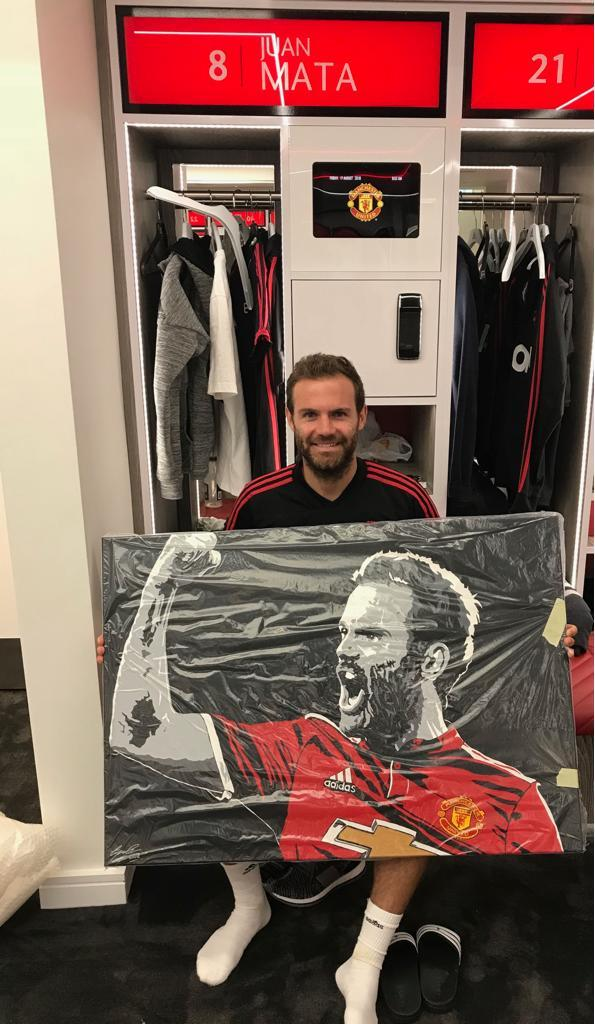 'THERE'S ONLY JUAN MATA!' - Manchester United superstar Juan Mata loved his painting so much he couldn't wait to take it out of the wrapper before sending me a picture!😀I'm incredibly proud to team up with Juan & the inspirational team at 'Common Goal'. This painting will be signed by Juan and auctioned to raise funds for very worthy causes. Details to follow. Stay tuned....