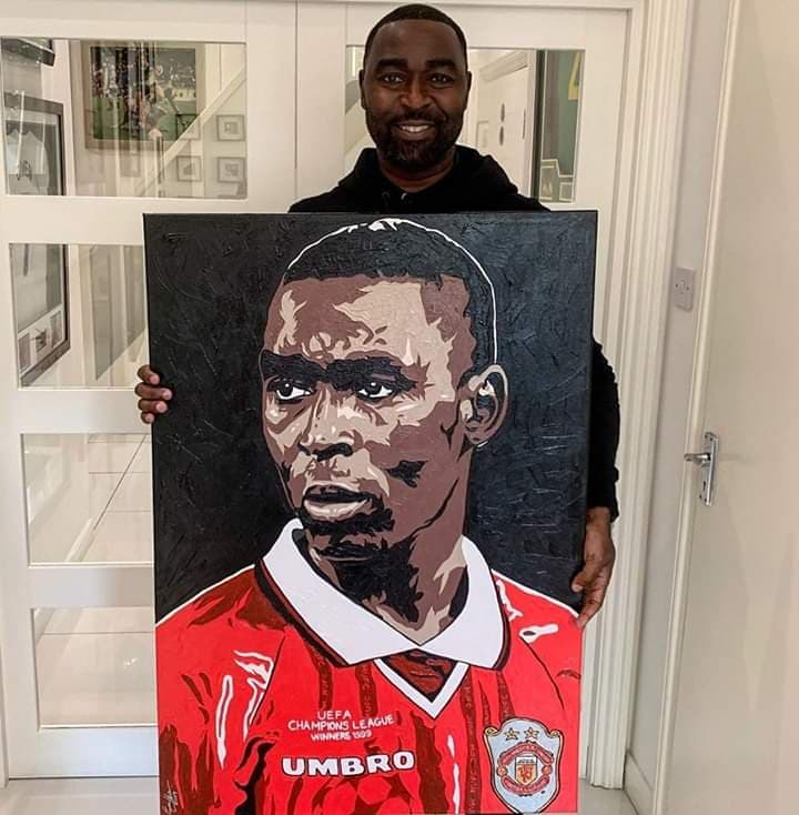 'NET KING COLE' - Manchester United Treble winning hero Andy Cole with a recent portrait I painted for him. As a lifelong United fan, I still shake my head at times to know my work hangs proudly in the homes of so many of our greats!