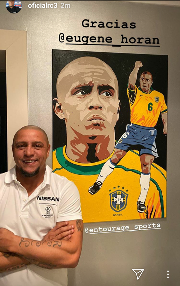 ALL TIME GREAT! - Roberto Carlos… I spent hours everyday as a kid trying to replicate your incredible free kicks. I even broke my mum & dads window with my efforts!🙈 ... but never did I ever expect you would want one of my paintings to hang proudly in your home! The honour is all mine my friend!