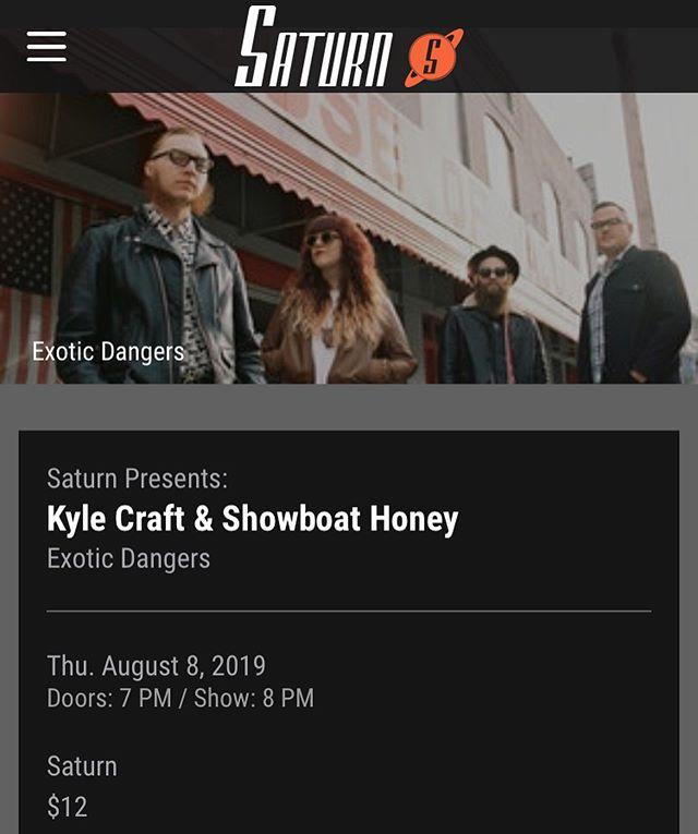 THURSDAY 8/8. We will be back in the Iron City at our favorite @saturnbham, sharing the stage with @kylecraftt. Get your tickets now at saturnbirmingham.com.