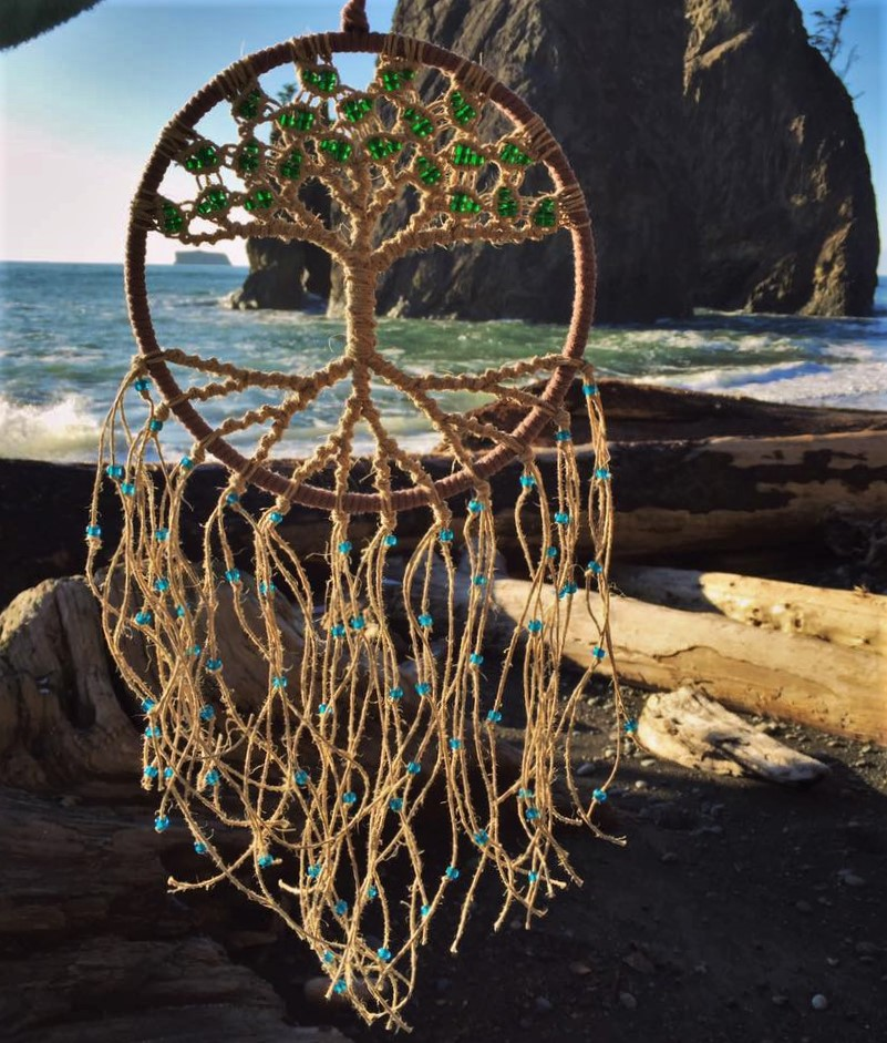 Bodhi Tree - Macrame Tree of Life Dreamcatcher/Suncatcher on an 8 inch hoop with Malachite & Sapphire glass beads.