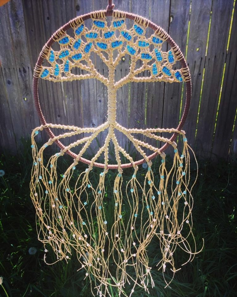 Cosmic Tree - Macrame Tree of Life Suncatcher on a 12 inch hoop, woven with hemp, Sapphire, Aqua & Aurora glass beads.