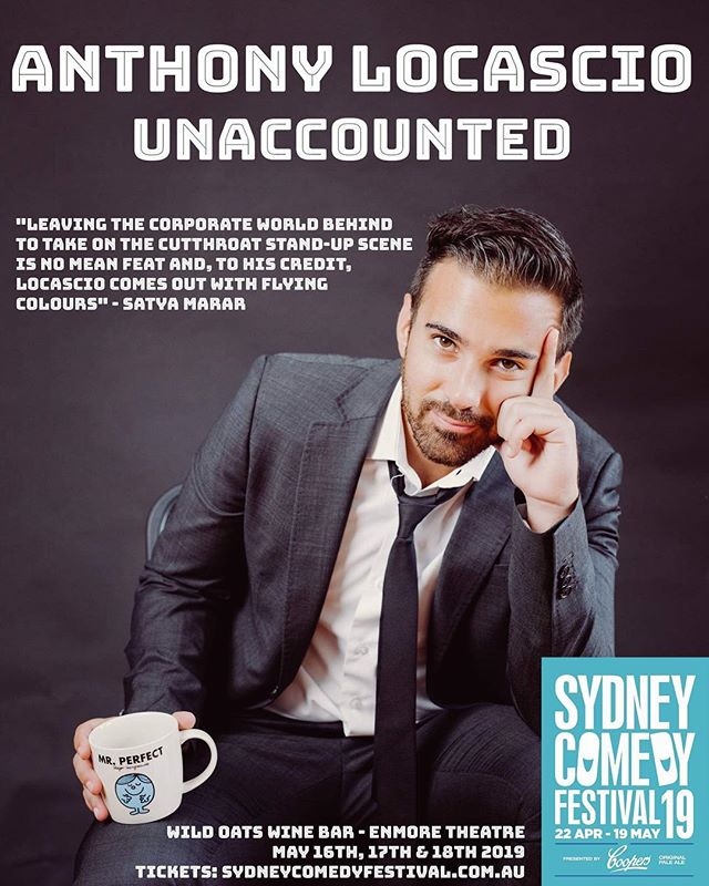 In a month I will be performing my first solo hour at the @syd_comedy_fest !  Unaccounted is the story of how I quit my corporate job to chase stand-up comedy. It will feature my very best work from my almost 2 years doing stand-up. I would love it if you could all come and watch! (Link in bio)  Big shout out to @anthony.locash for the dope poster design 😎  #standup #standupcomedy #comedy #sydneycomedy #sydneycomedyfestival