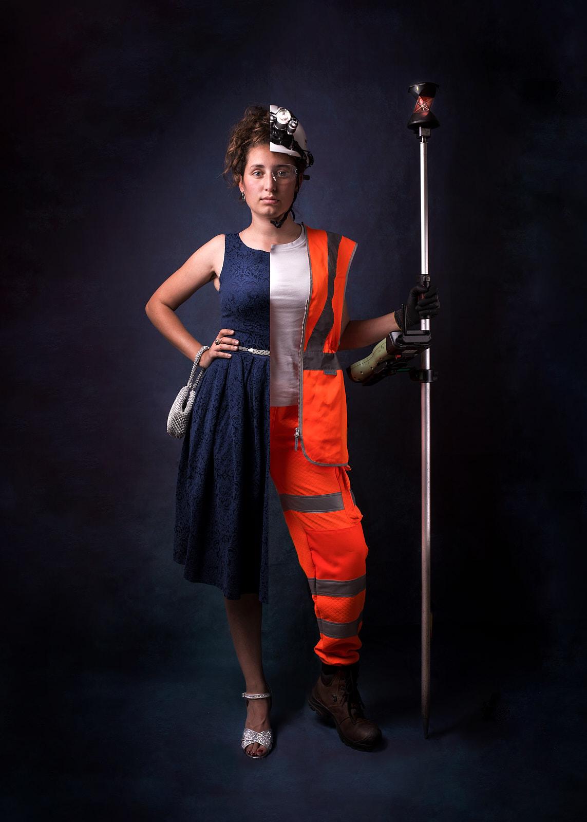 Woman surveyor creative photography