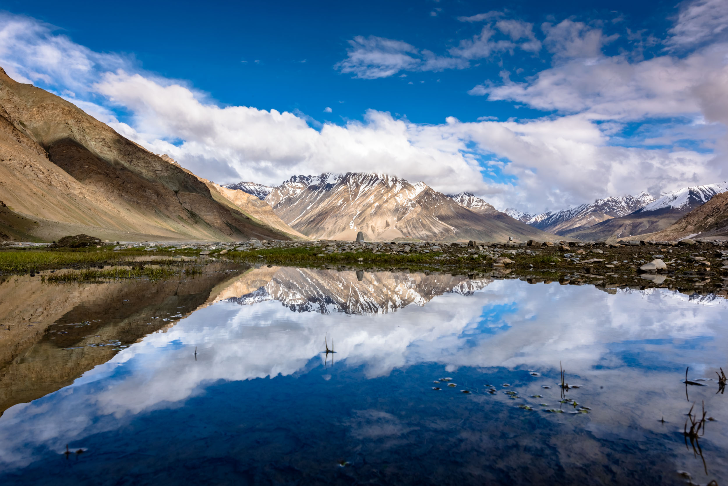 Reflections in Puddle at Rangdum