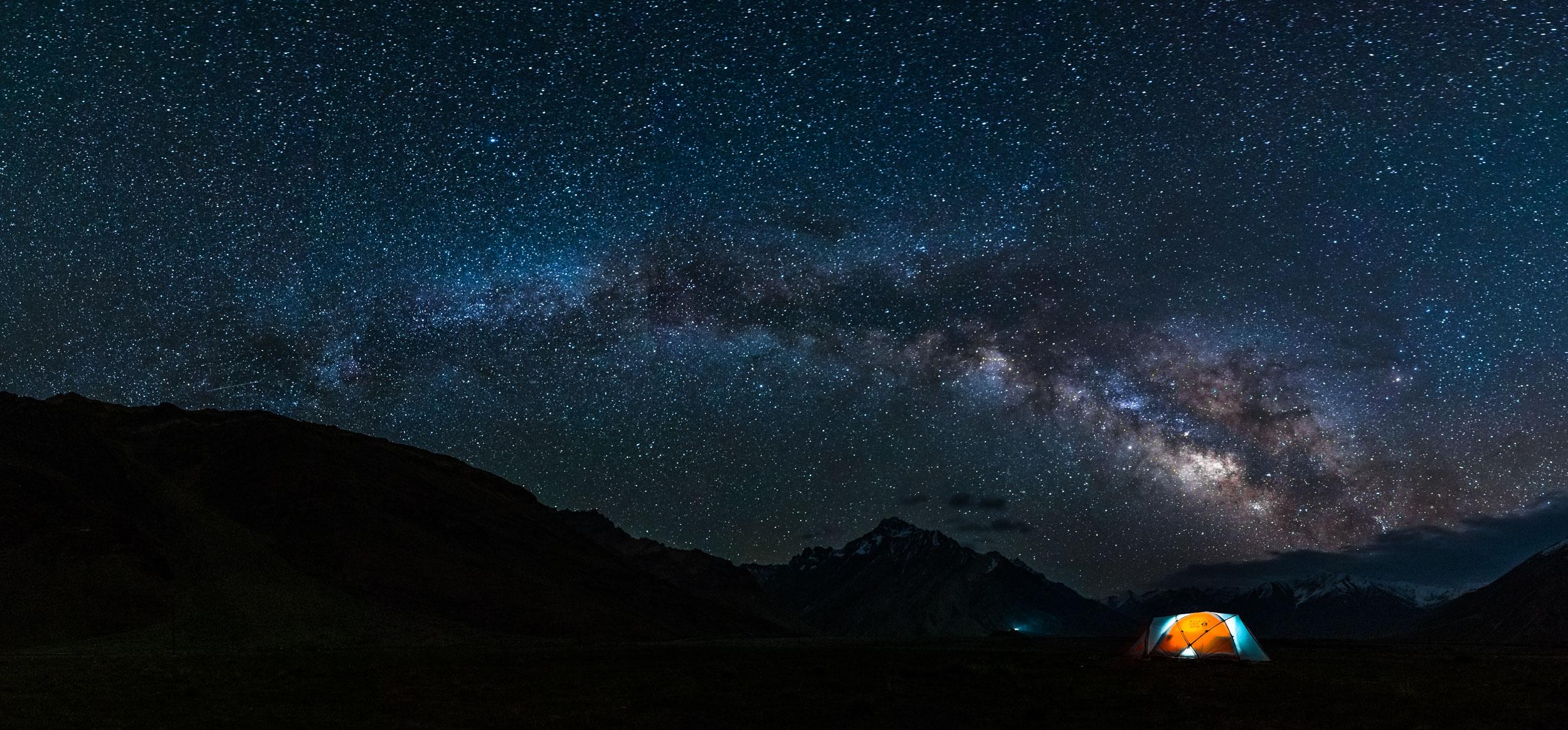 Multirow Panorama of Full Milkyway at Rangdum in Himalayas