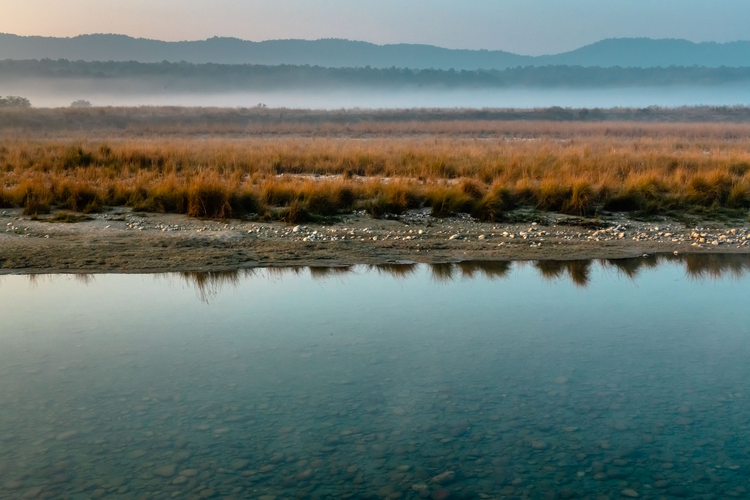 Reflections in Ramganga river flowing through Corbett Park