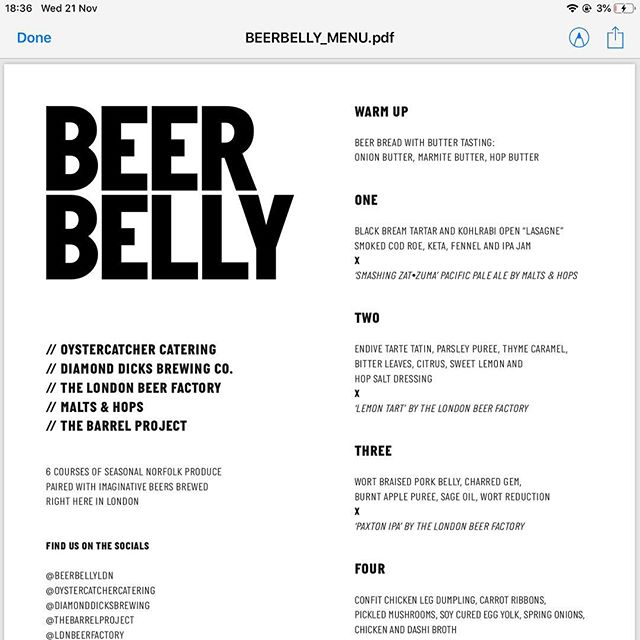 Finalised menu for Beer Belly London! Super excited about this. This is the second edition and we have been lucky enough to be a part of both. Thanks to @diamonddicksbrewing @oystercatchercatering @beerbellyldn @thebarrelproject @ldnbeerfactory  #craftbeer #craftbeerporn #bermondseybeermile #amazingfood #beerpairing