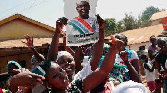 Supporters of Adama Barrow celebrate his electoral victory of Yahyah Jammeh  (Image courtesy of Aljazeera)