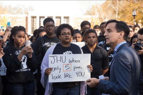 Students at Johns Hopkins University protest the lack of faculty diversity on campus, Photo Credit: James VanRennsselaer, Courtesy of homewoodphoto.jhu.edu
