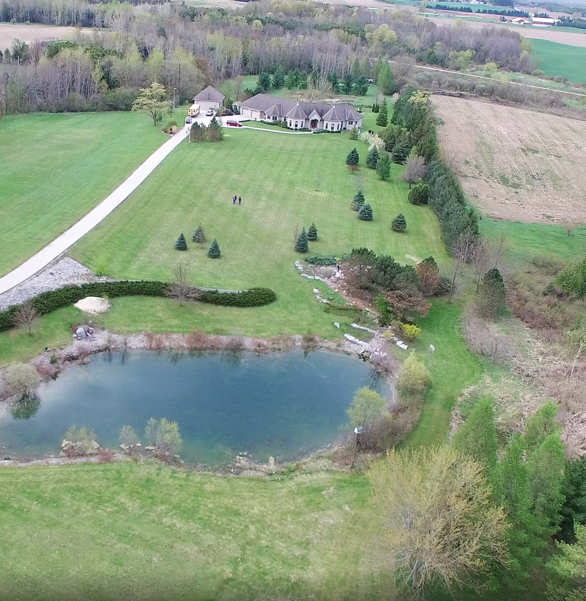 Aerial view of the 12-acre property at Huron Hospice. The memorial forest will be established in the back 6 acres of land that is currently meadow and natural marsh environment.