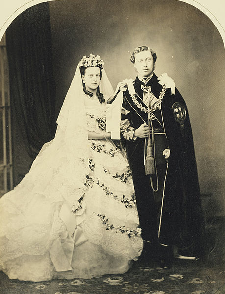 The wedding of Albert Edward, Prince of Wales (later King Edward VII), and Alexandra of Denmark, London, 1863,  Courtesy of WikiMedia Commons