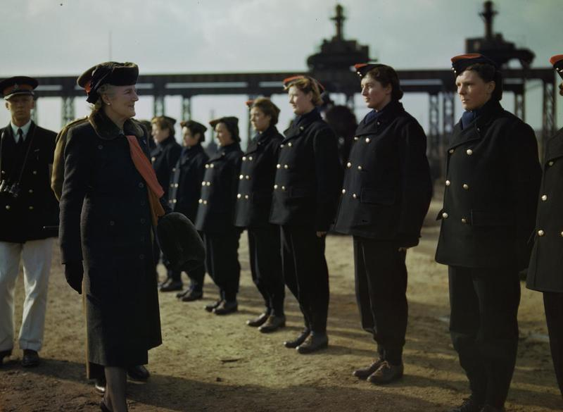 The wife of the Prime Minister, Mrs Clementine Churchill, inspects members of the ATS at the Royal Artillery Experimental Unit, Shoeburyness, Essex, courtesy of the Imperial War Museum