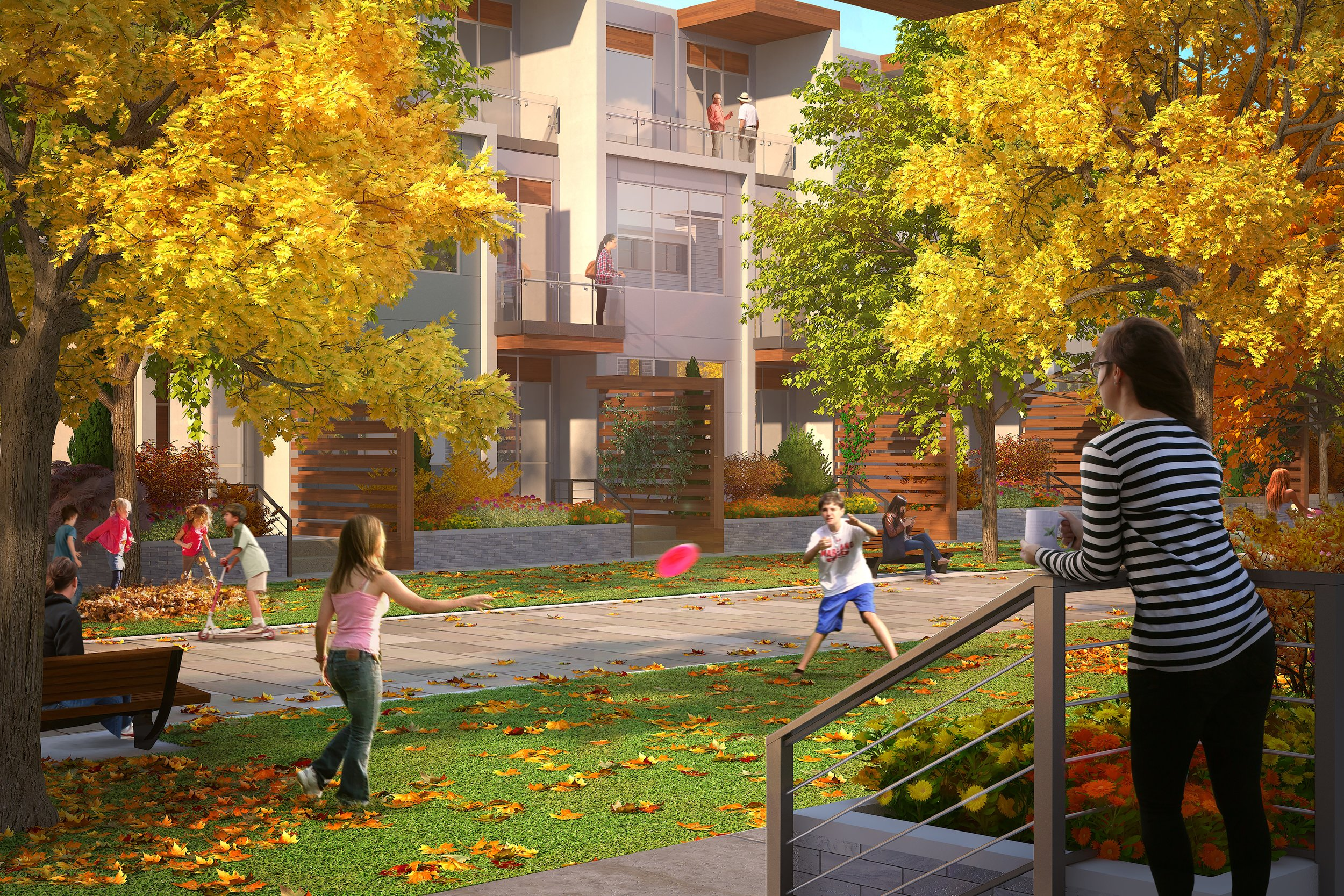 The Tarmac Townhomes face a public pathway