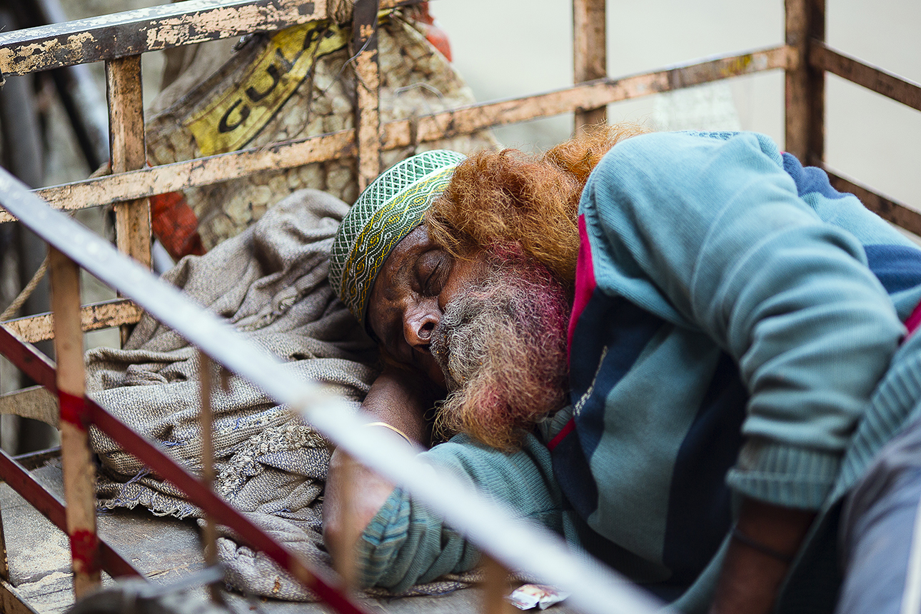 This guy is my beard hero, obviously napping after a Holi festival party!