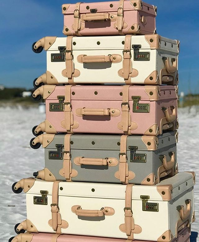 Thoughts i've had with this luggage in mind:  1. Travel to a remote mansion with a group of strangers and unexpectedly solve a murder mystery.  2. Take a train ride across country to see my fiancé who just got back from war. (i'm 14 years married, BTW)  Maybe I spend a lot of time alone. 🤷🏼♀️But there's no denying, these babies are dreamy! Perfect for your weekend escape, or to give to that special bride, before she heads out on her honeymoon! 🍋  Disclaimer: we only carry the ivory, for now! 📸@deux_peches