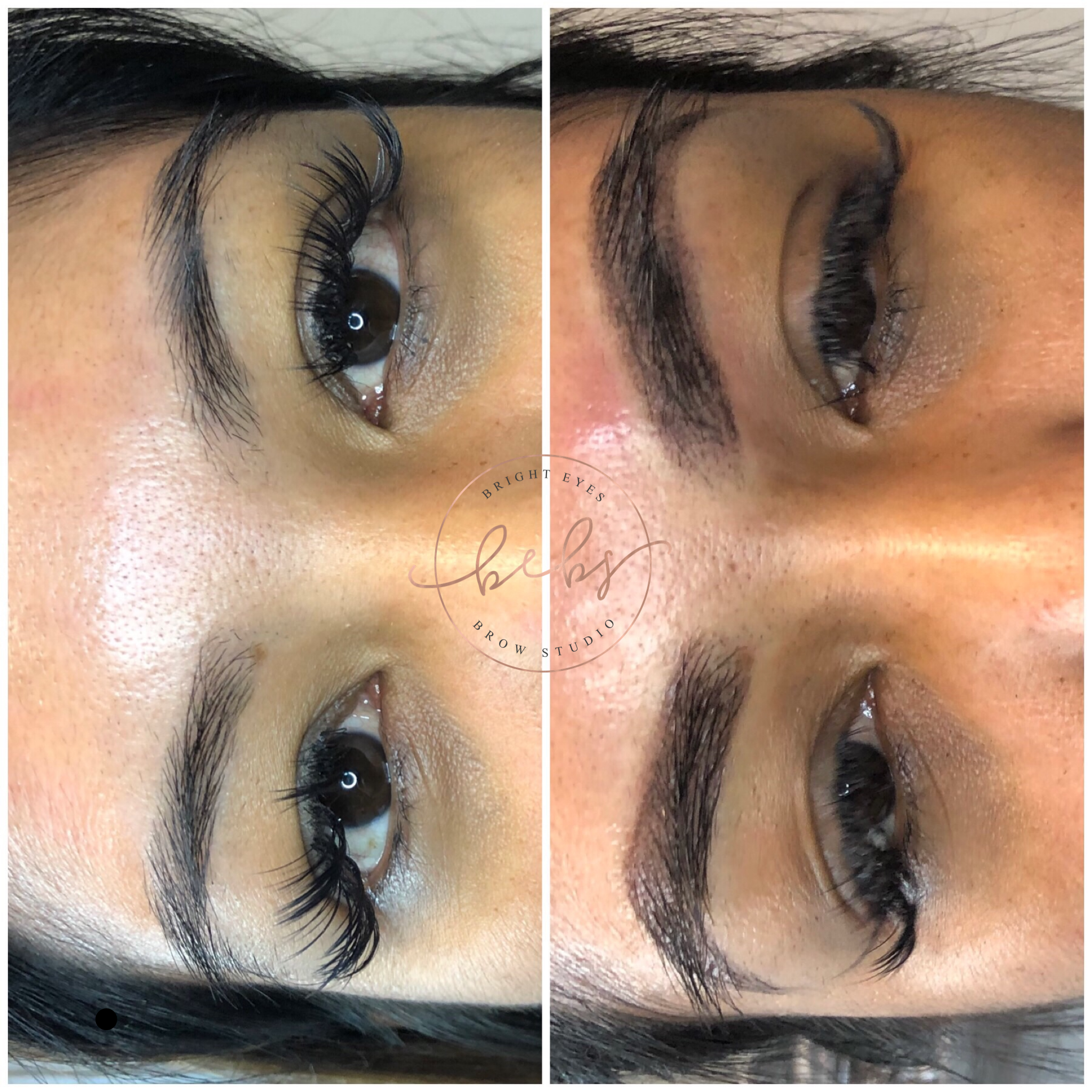 Before and after. Powder brows