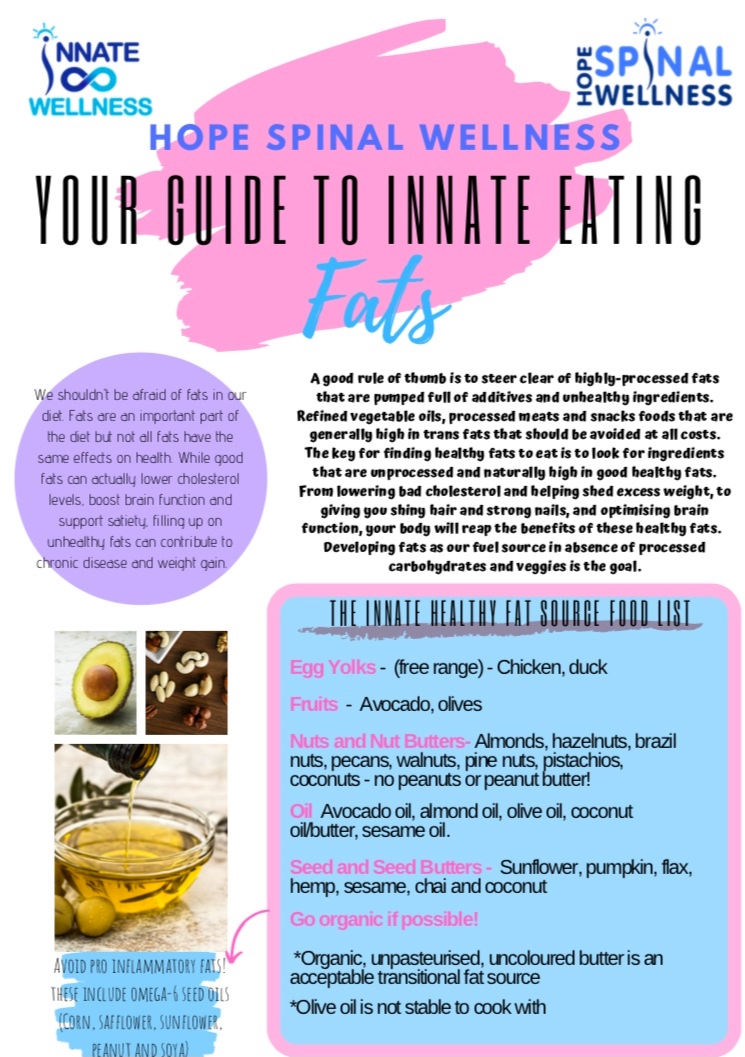 Fats - In this week's Hope Chat we continue our guide to INNATE EATING. Today we are focused on FATS, an important part of our diet. Find out which ones we should be keeping in our diet, and which we should avoid!