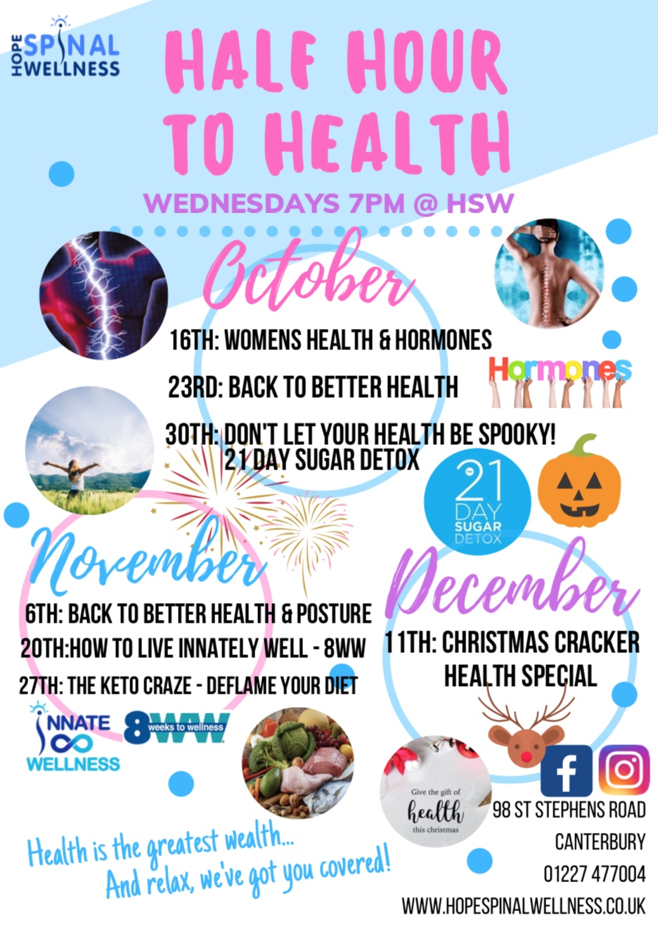 Workshop Calendar - Join us for our Wednesday workshops to learn how to live Innately Well and optimise your Health!