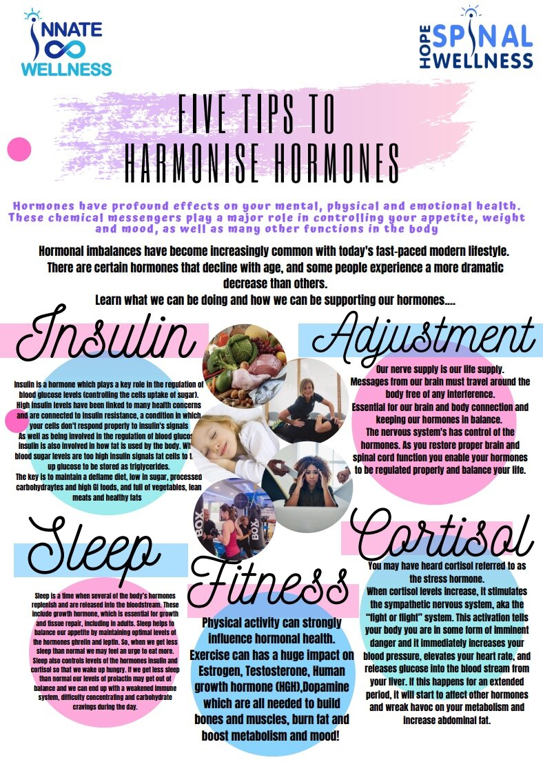Five Tips to Harmonise Hormones - Hormones have profound effects on your mental, physical and emotional health.These chemical messengers play a major role in controlling your appetite, weightand mood, as well as many other functions in the bodyLearn our 5 top tips to support our hormones and keep them in balancing and functioning as they should!