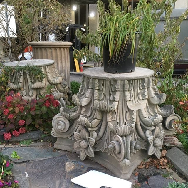Sobriety garden behind Bellevue made from remnants of the old building. #bellevue #nyc #stone #mason #acanthus