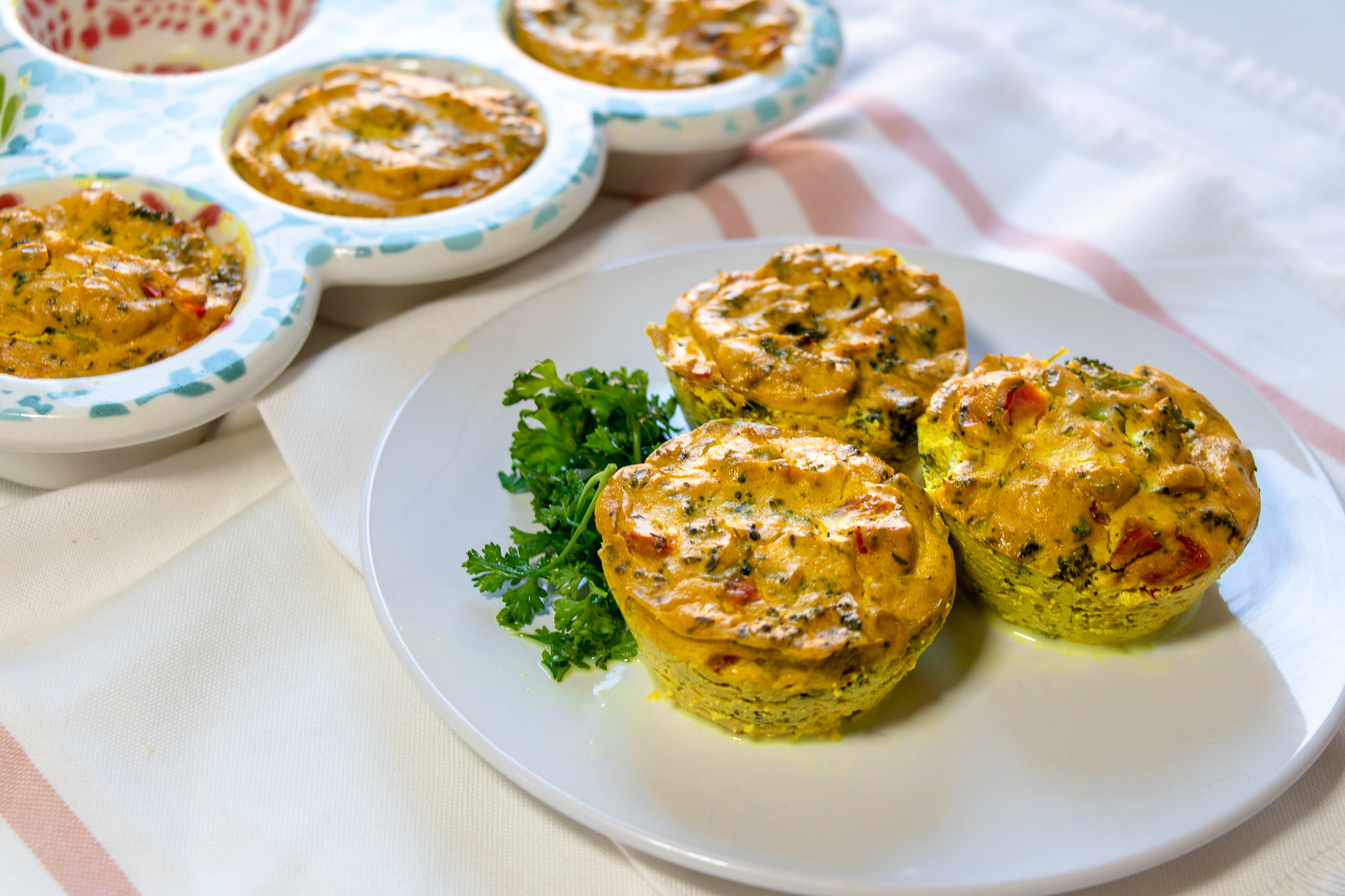 These quick mini quiche are so easy and tasty! If you don't like the veggies listed, feel free to replace them with any you prefer, or have on hand. These reheat really well, so are a perfect meal prep recipe, as well.