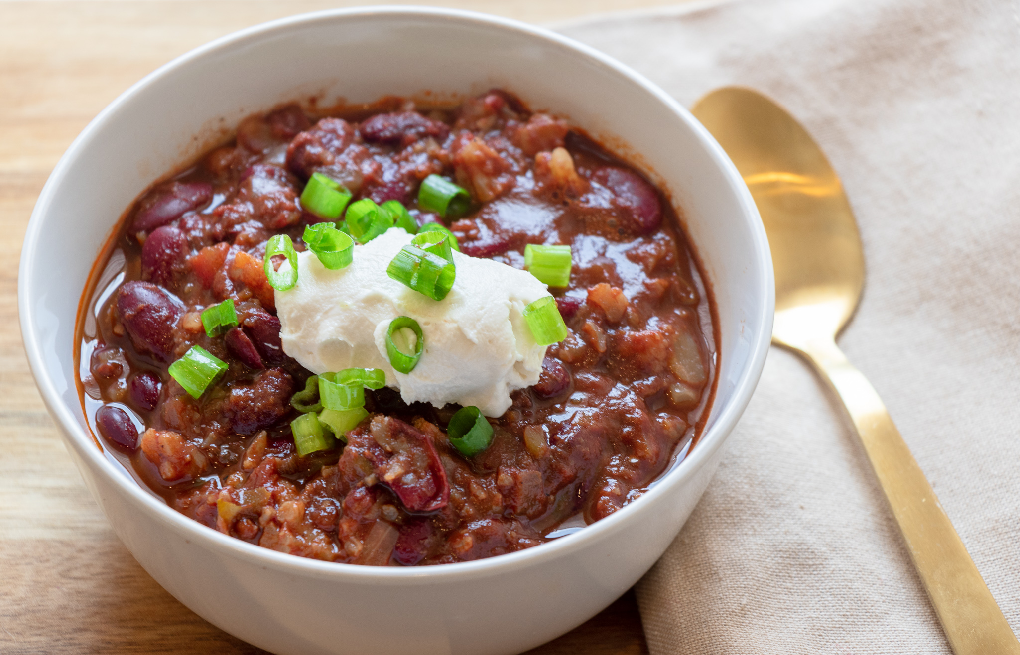 I love chili!! I love it plain, on a baked potato, on a carrot dog, on some fries with some cheese, on latkes at Hanukkah. I love it summer, fall winter, or spring. This chili is hands down my favorite recipe. Its simple, and super easy to make. Freeze any left overs for a quick weeknight dinner in a pinch.