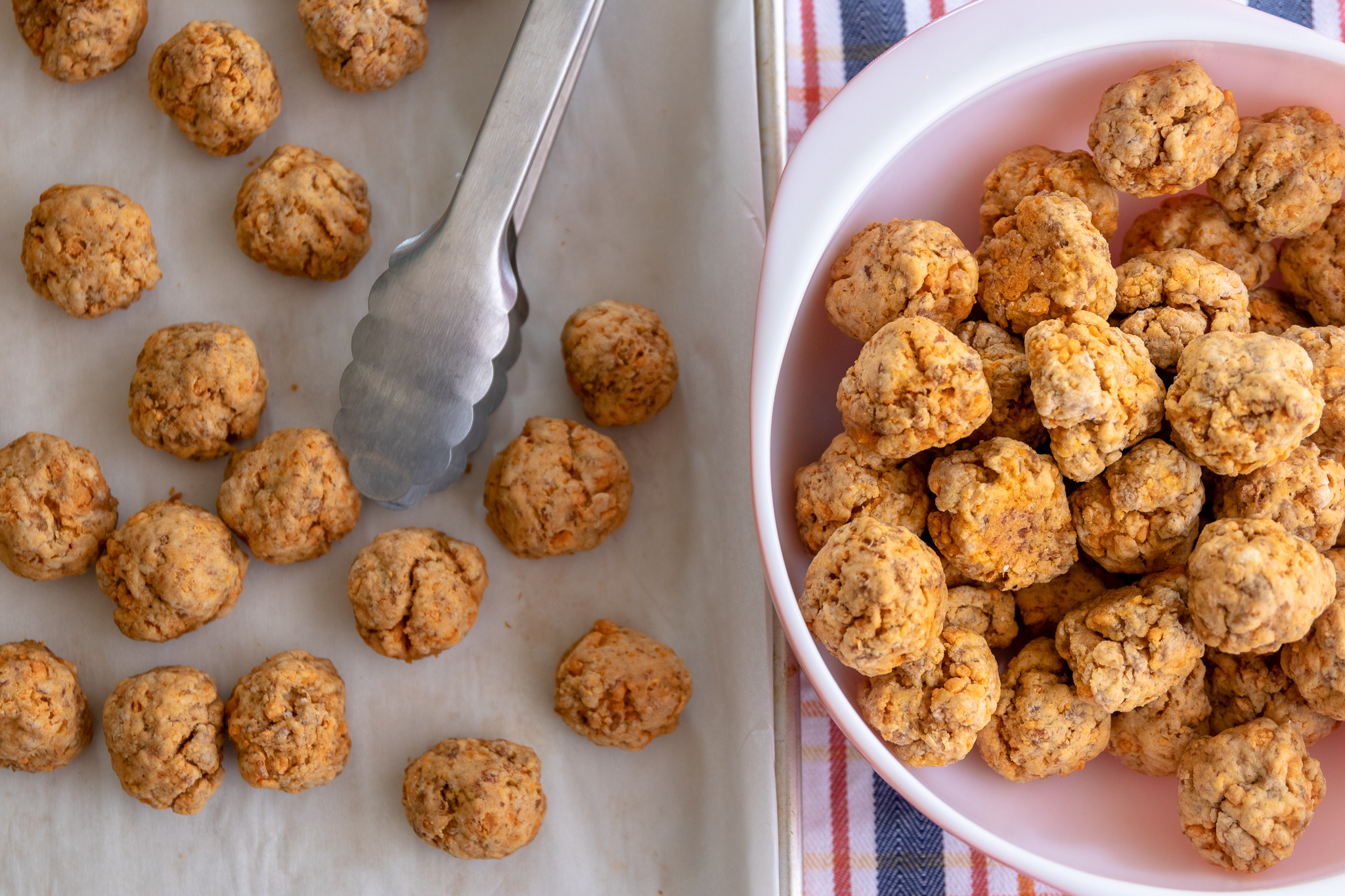 Growing up in the south, sausage balls were a party staple. Every baby shower, bridal shower, or family gathering had a tray of these tasty treats. By simply swapping out the cheese and sausage in the original recipe for vegan versions, these yummy little bites will quickly become vegan party favorite!