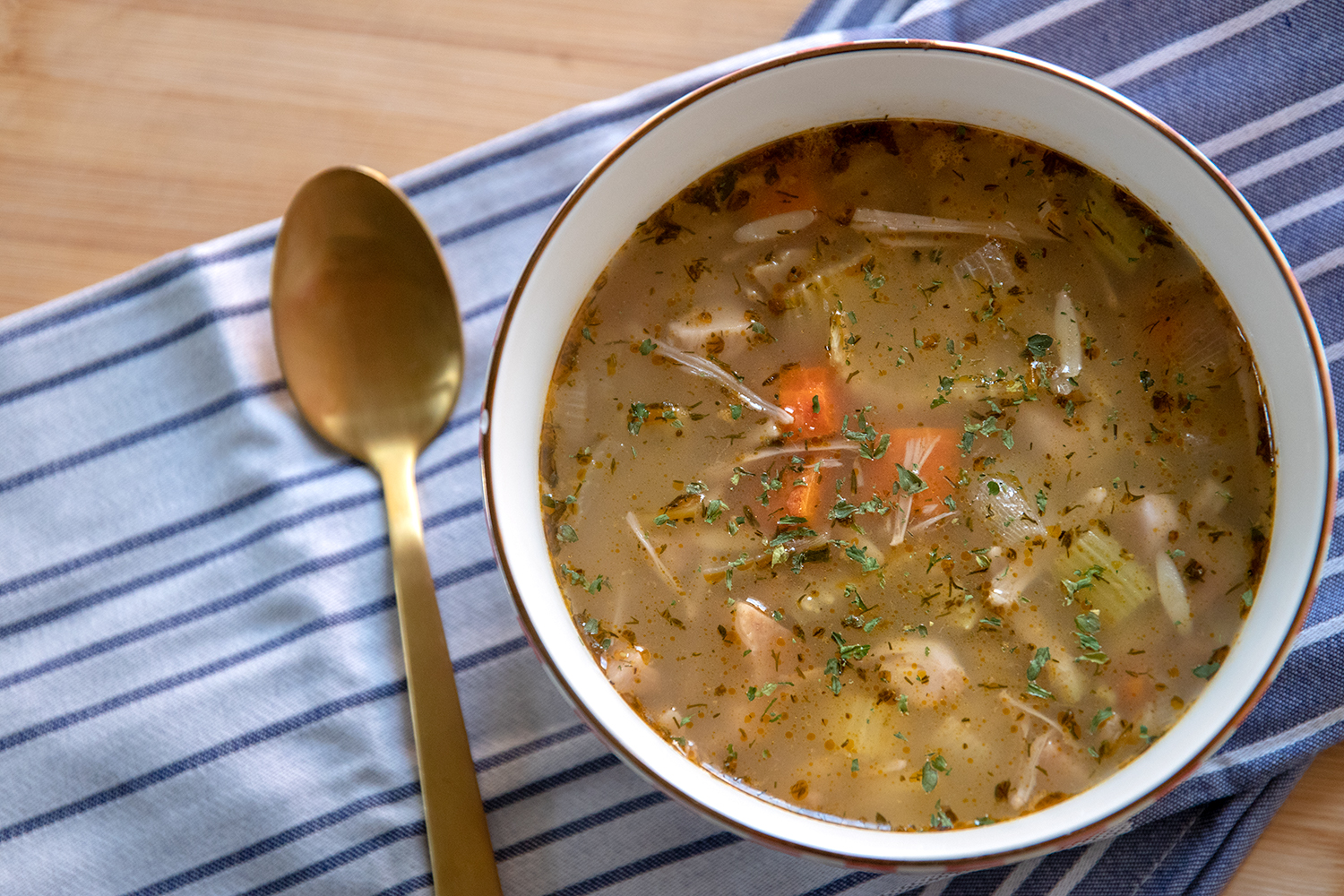 If you are missing classic chicken and rice or chicken noodle soup, this recipe is for you! We use jackfruit to mimic the chicken and orzo in place of noodles or rice! This soup is savory, delicious, comforting, and so easy to throw together. Perfect for chilly weather, or for helping mend a cold or flu. It also will freeze really well, so go ahead a make a double batch and freeze half. That way the next time you are feeling under the weather, you can easily thaw and heat a batch of this classic comforting soup!