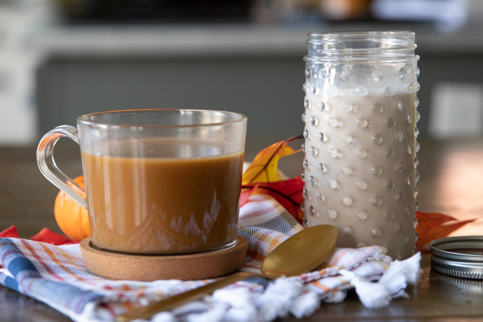 Cashew cream has long been my favorite vegan coffee cream substitute, and I love spicing it up for the holidays. With just the right amount of pumpkin pie spice, and maple syrup for sweetness, this pumpkin spice creamer is sure to be a new seasonal favorite!