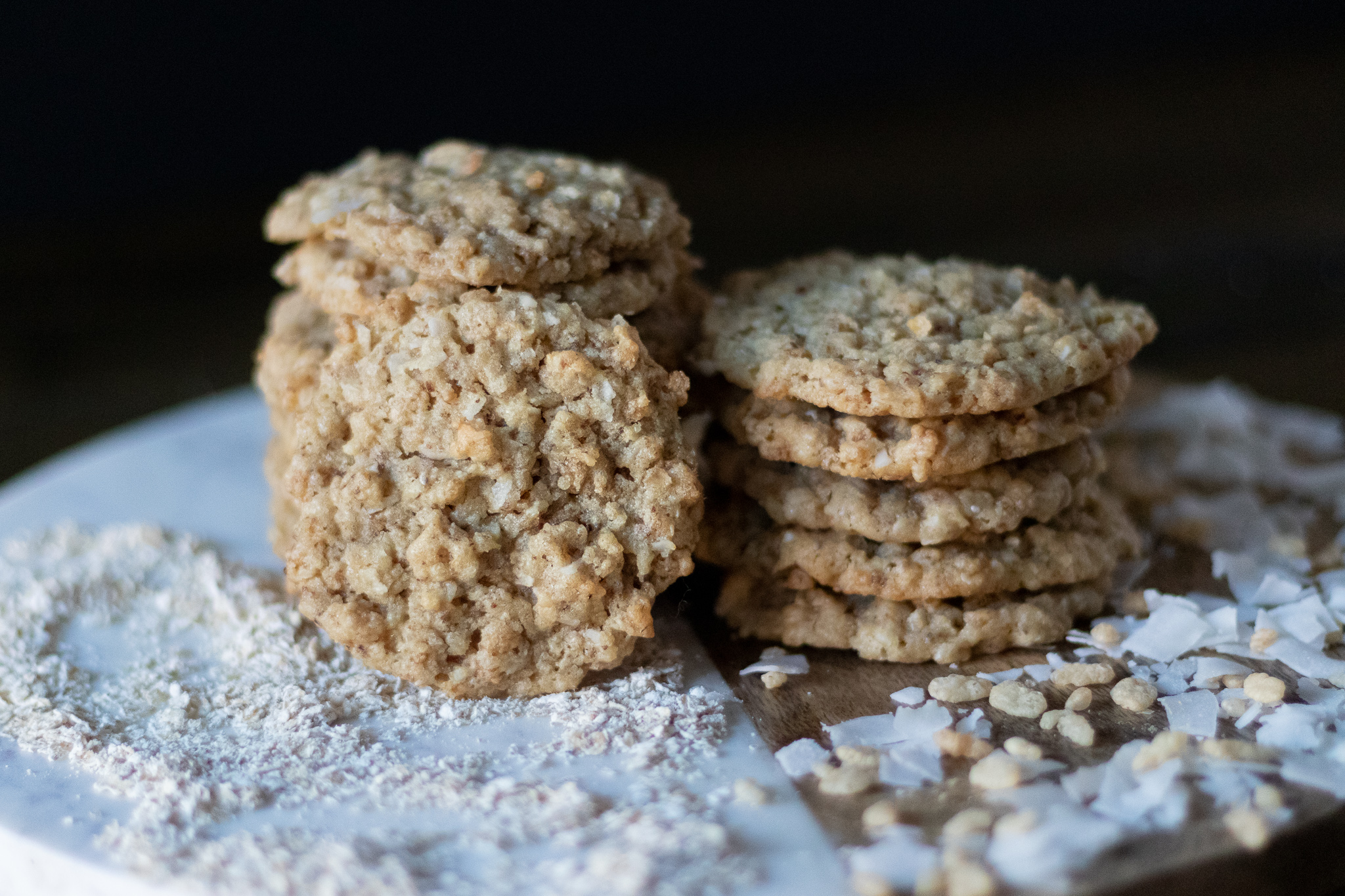 Growing up, ranger cookies were hands down my favorite treat. We would buy them from our local grocery store's bakery. After growing up and moving away, I would still pop in a buy a pack when visiting my parents. Eventually we went vegan , and it finally occurred to me to search for a recipe, and try to veganize my favorite cookie!. These taste just like the the ranger cookies I grew up eating. These cookies are chewy, and coconutty, with little crispy bits from the rice cereal. So if you have never had or even heard of a ranger cookie, bake up a batch. I think you might just love them as much as I do!