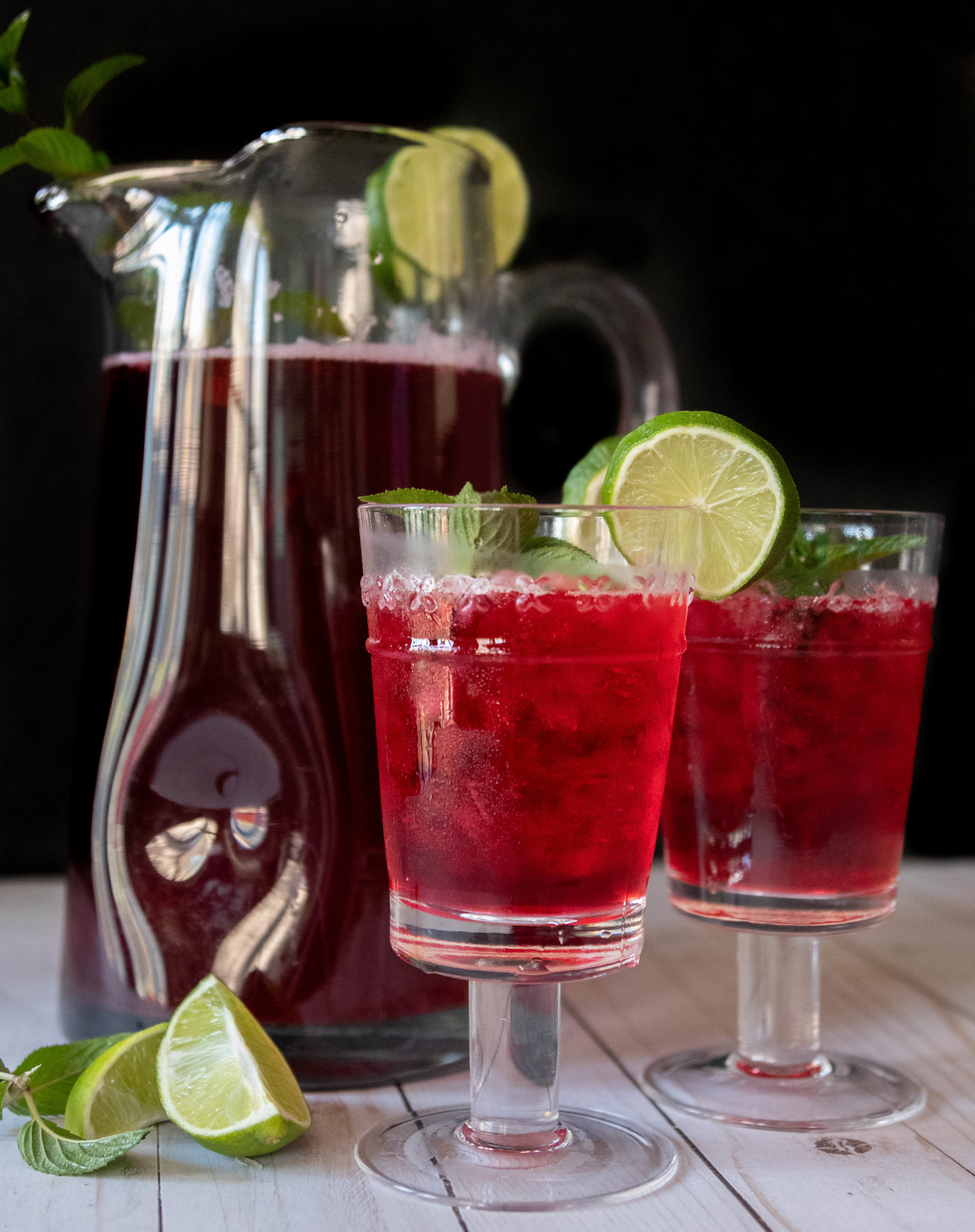 A couple cold glasses of hibiscus lime tea.