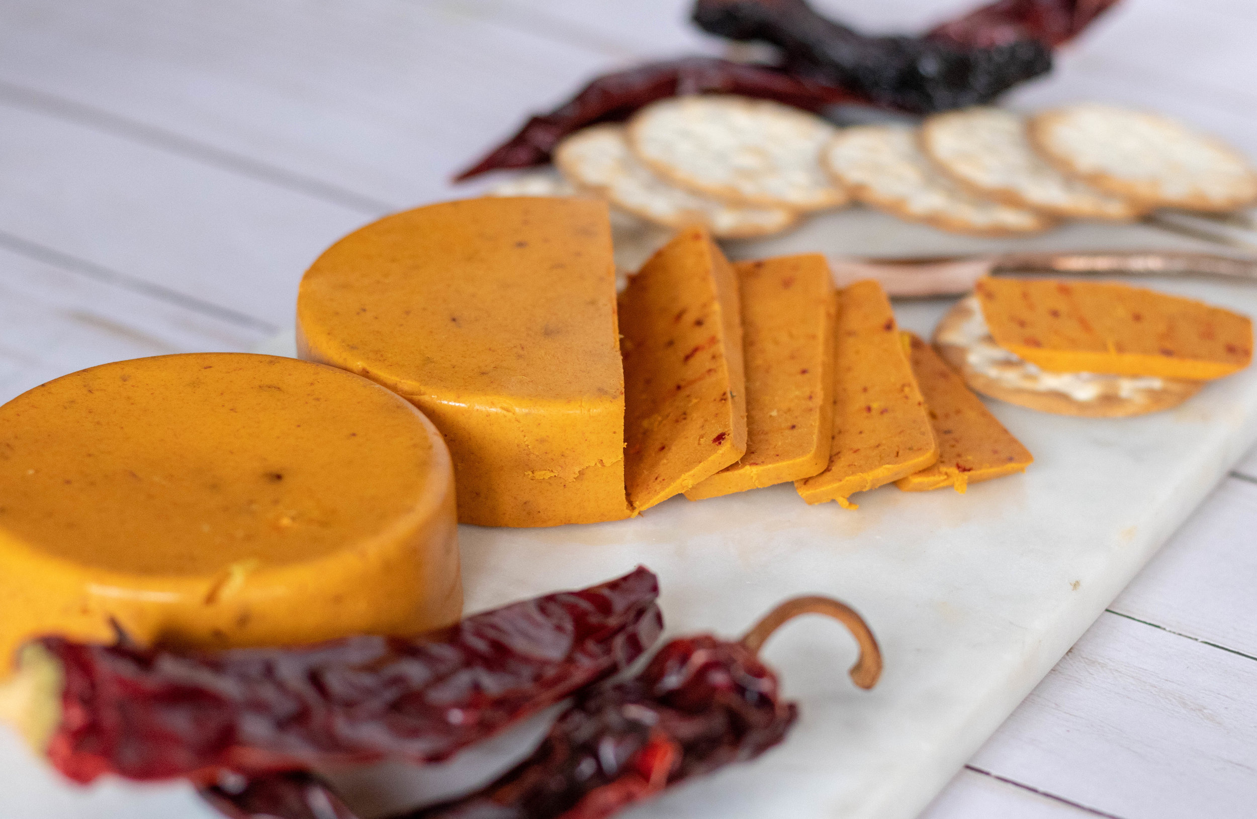 Vegan Smokey Chile Cheddar Cheese sliced
