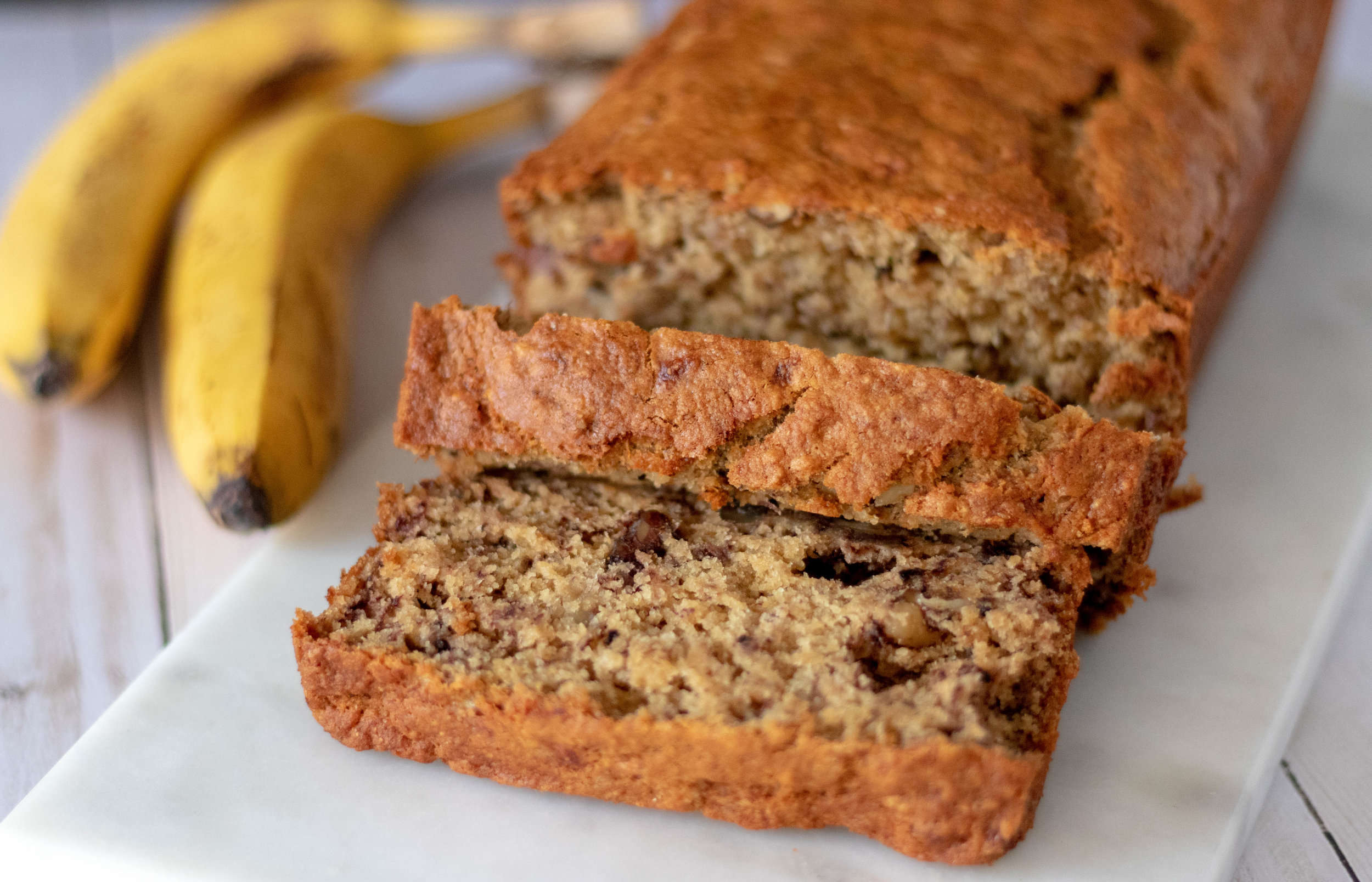 Vegan Banana Walnut Bread Sliced