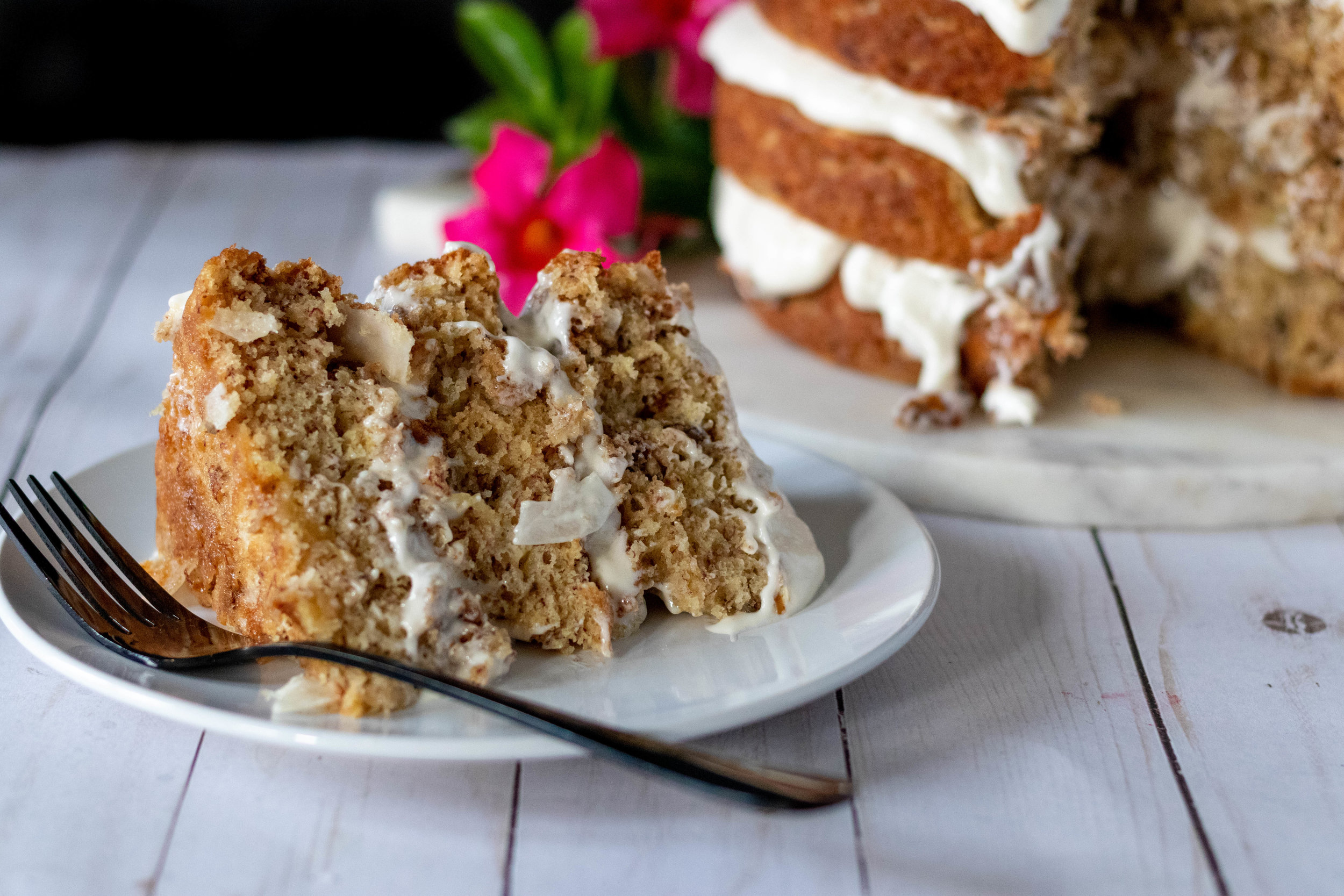 A piece of Hummingbird Cake