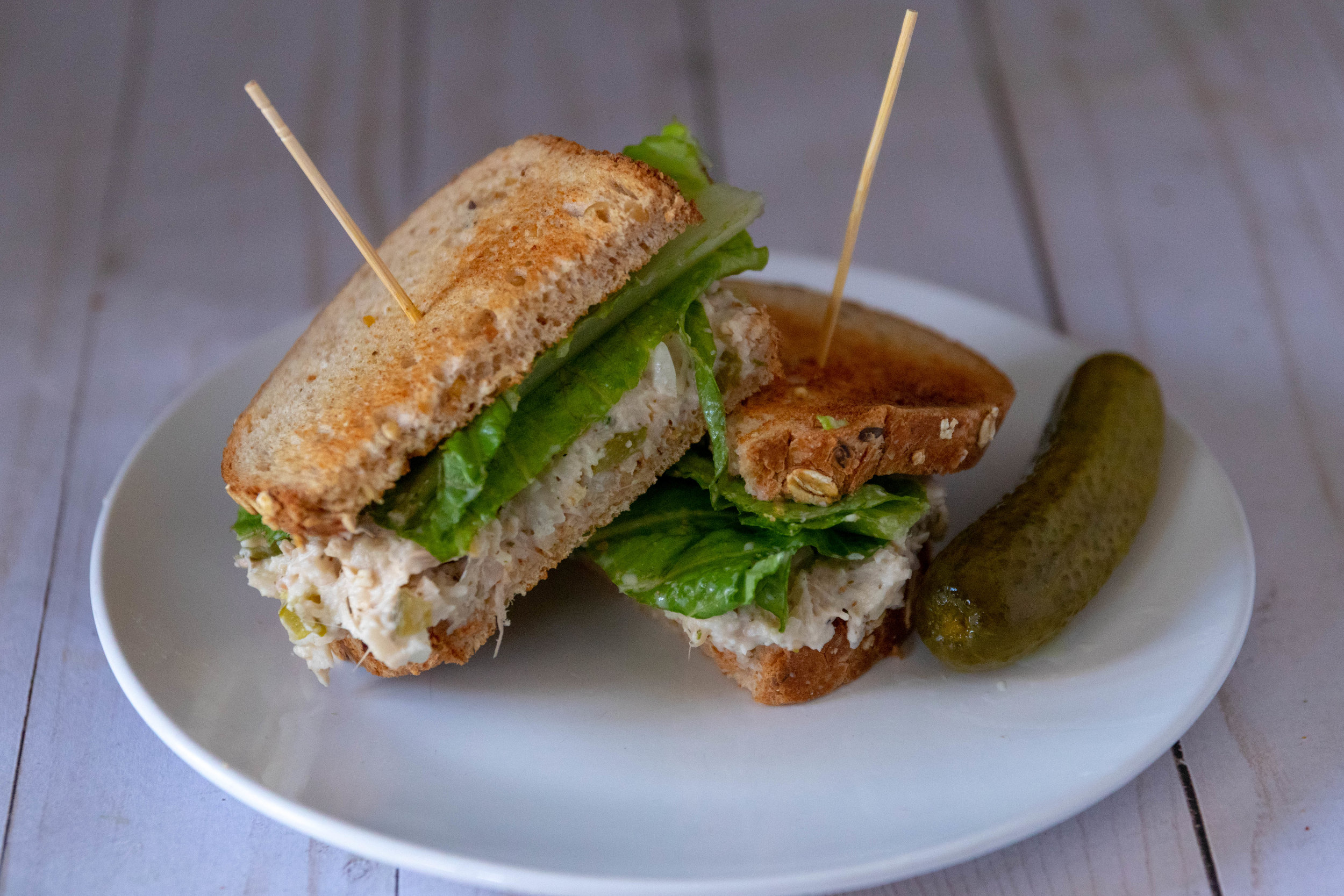 Jackfruit Tuna Salad Sandwich cut in half