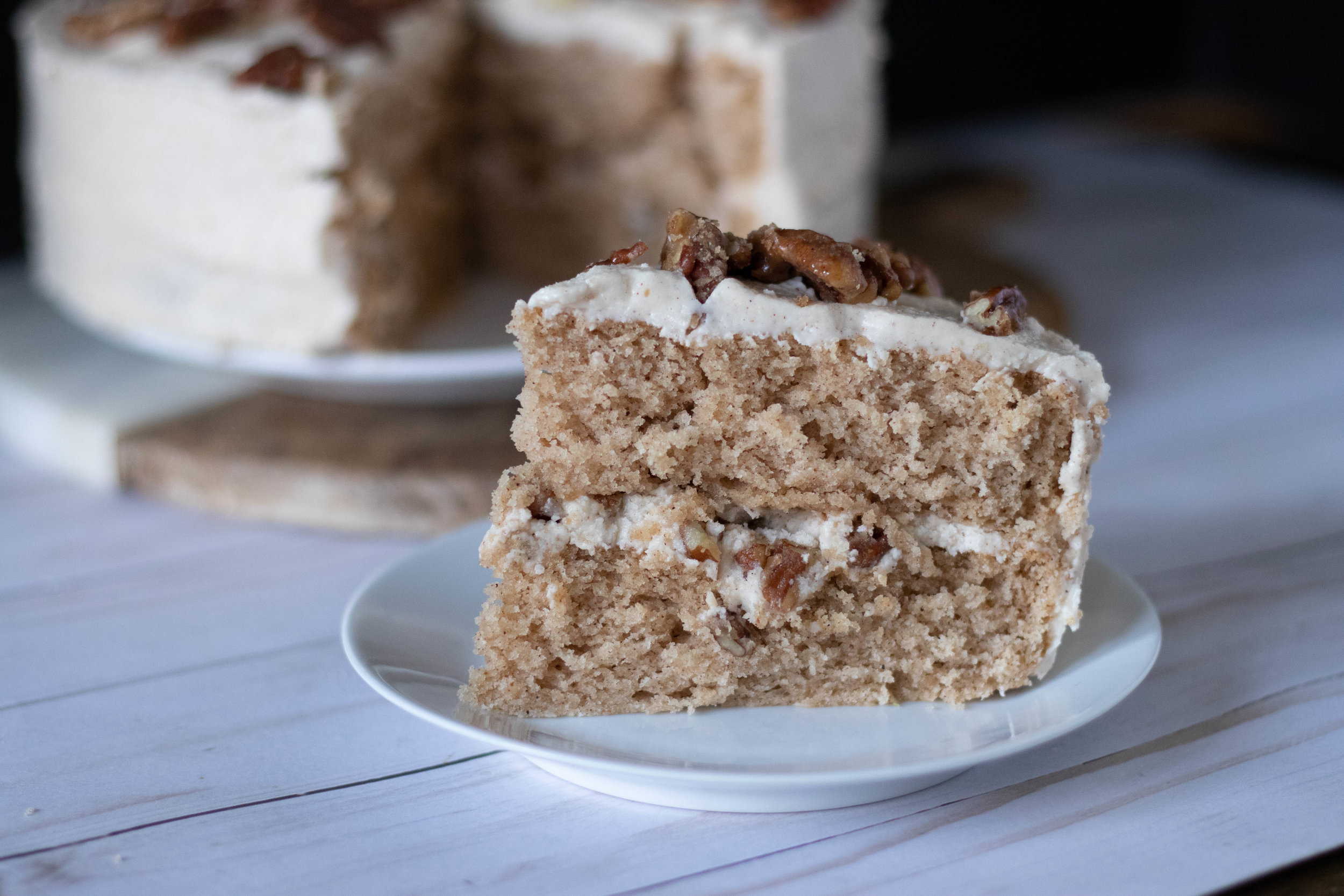 Vegan Candied Pecan Maple Spice Cake