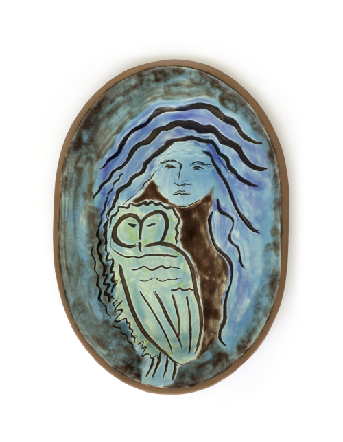 Athena with Green Owl Plate