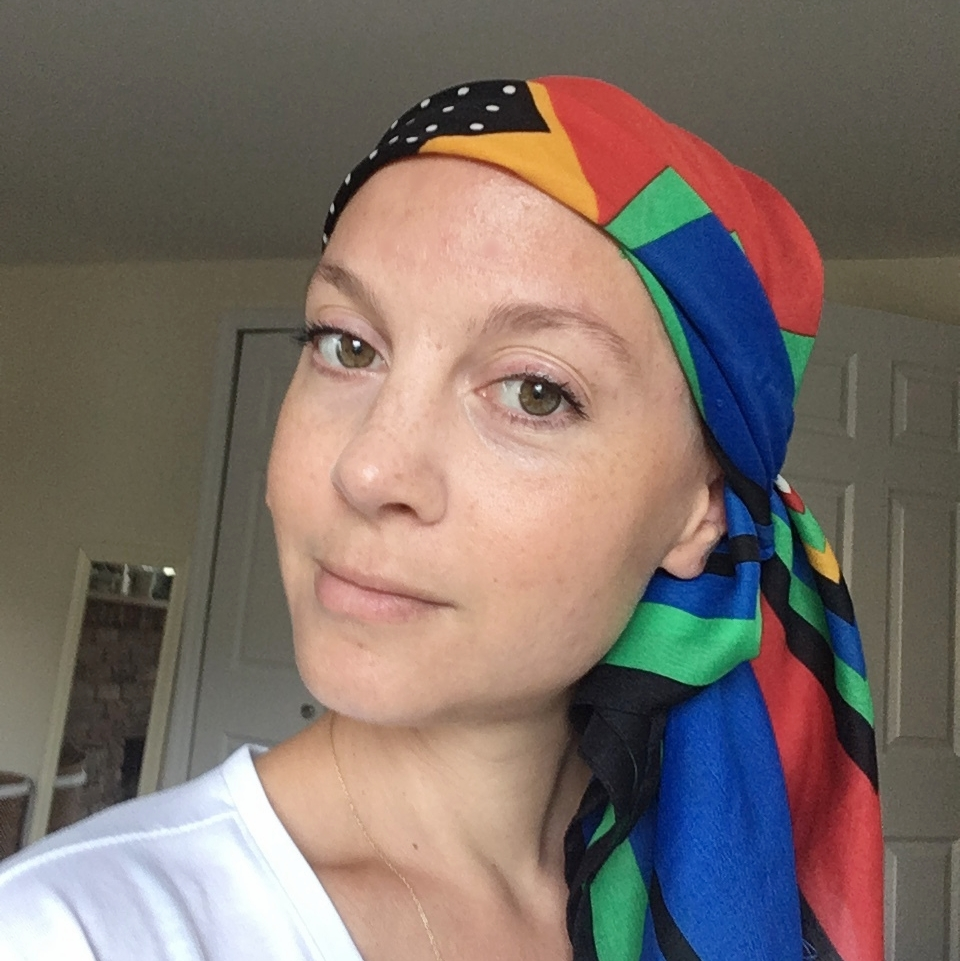 Headscarf look. This is necessary for working out, and for times I don't feel like putting a wig on.