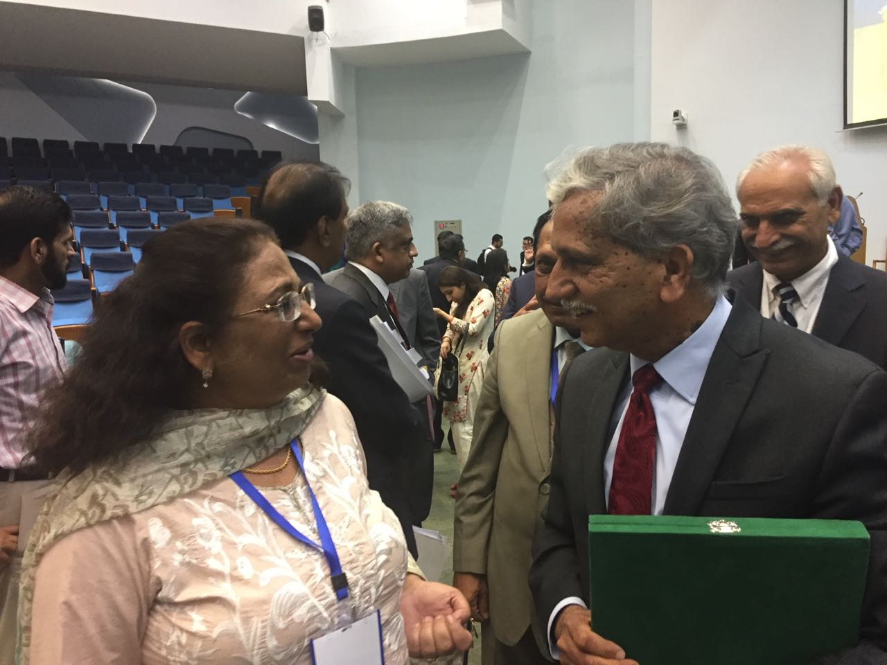 Prof. Dr. Naureen Aziz Qureshi, Vice Chancellor of Government College Women University Faisalabad (GCWUF) speaking with Dr. Khalid Iqbal, PEP Foundation
