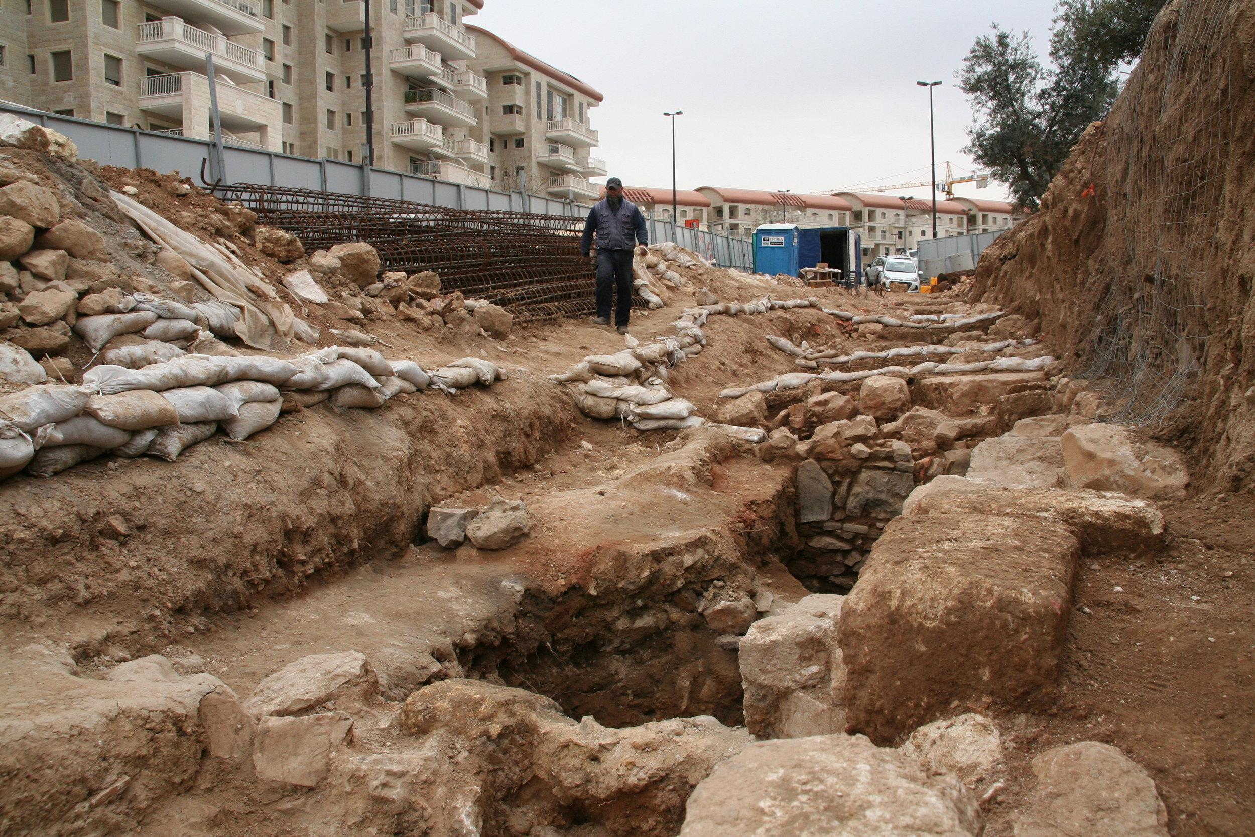 The archaeological excavations at Binyanei Ha'Uma. Photo: Yoli Shwartz, IAA