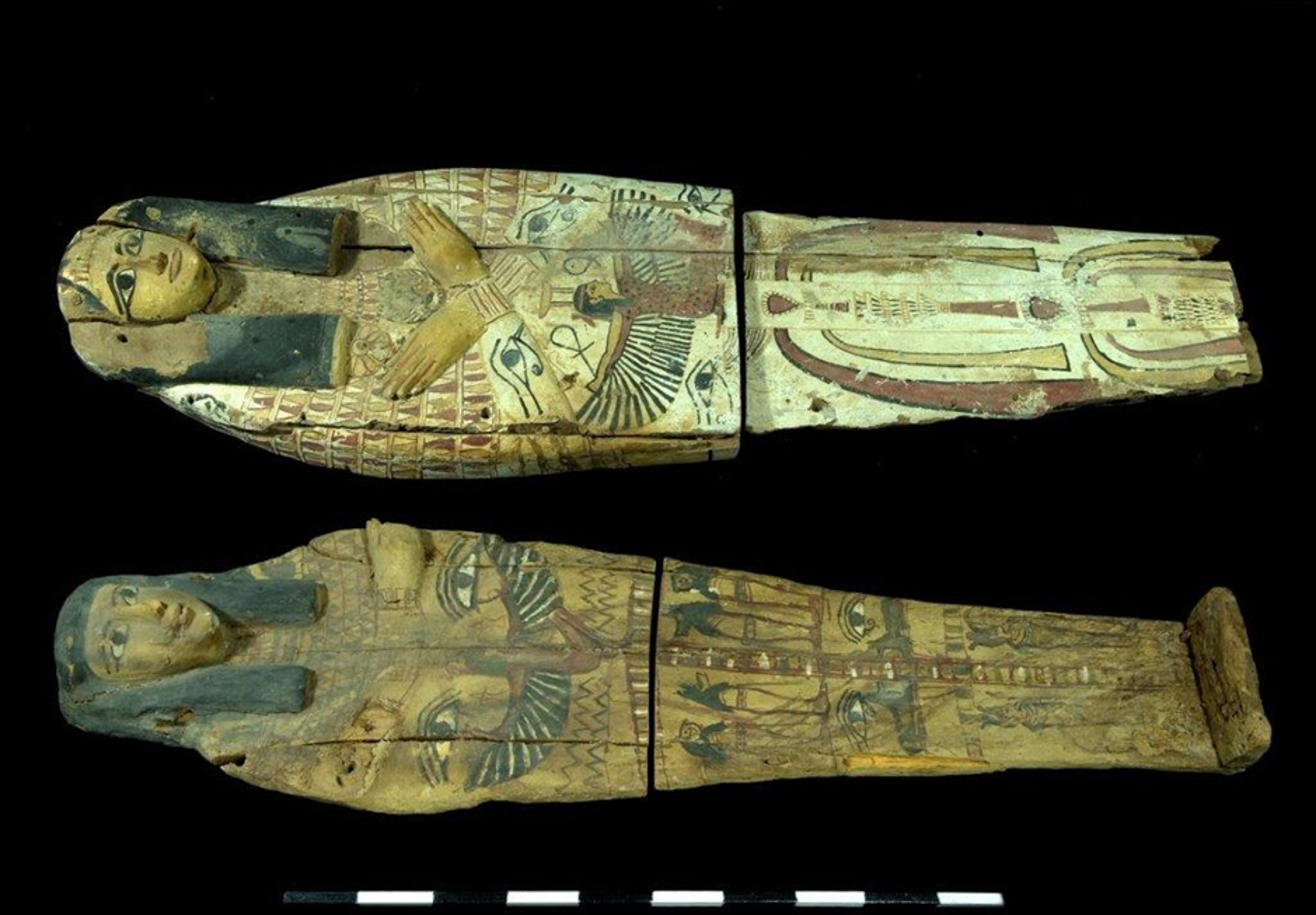 Two Egyptian sarcophagi lids – seized in the antiquities market and returned to Egypt.