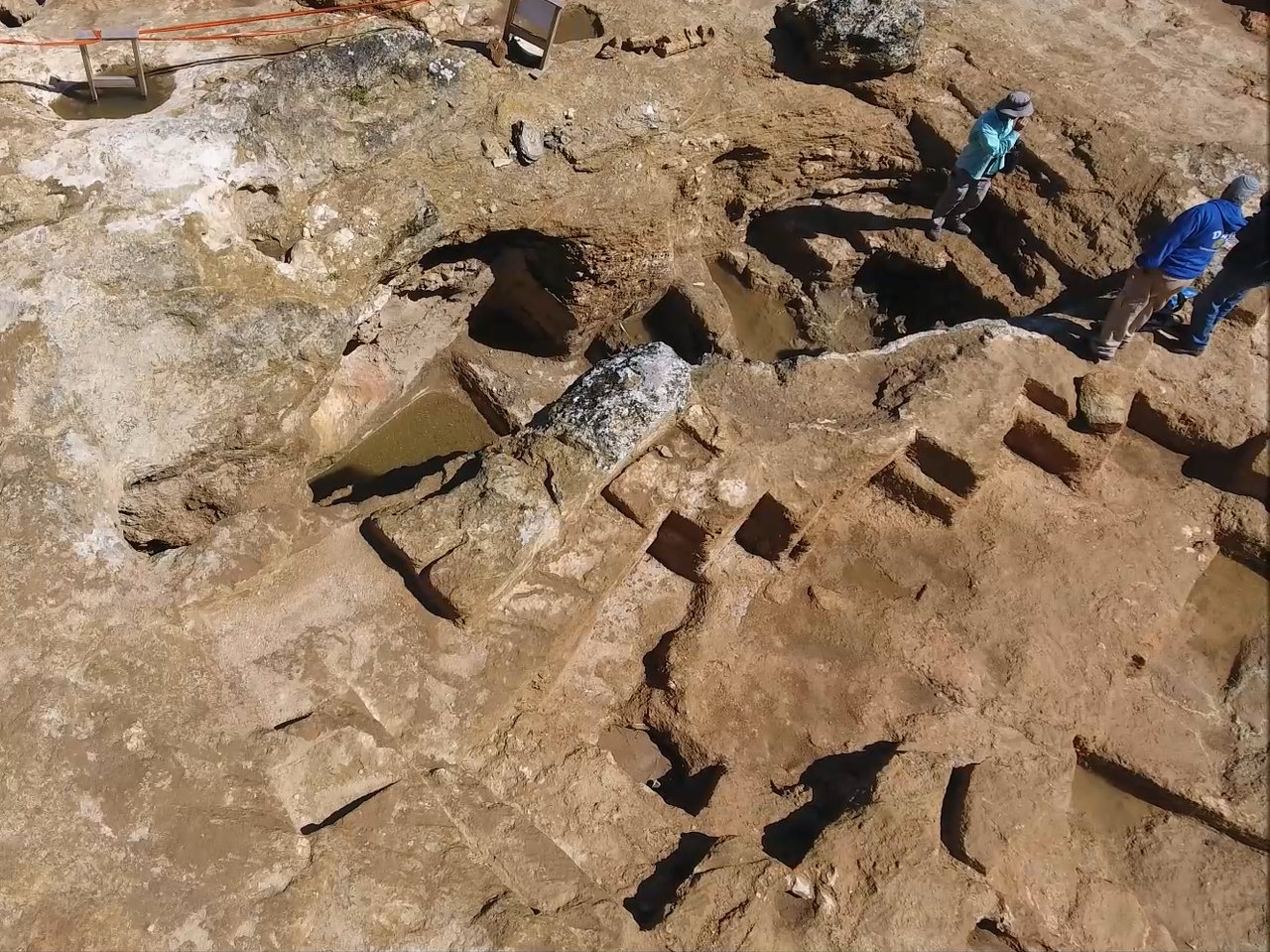 Aerial photograph of the excavation in Sharafat