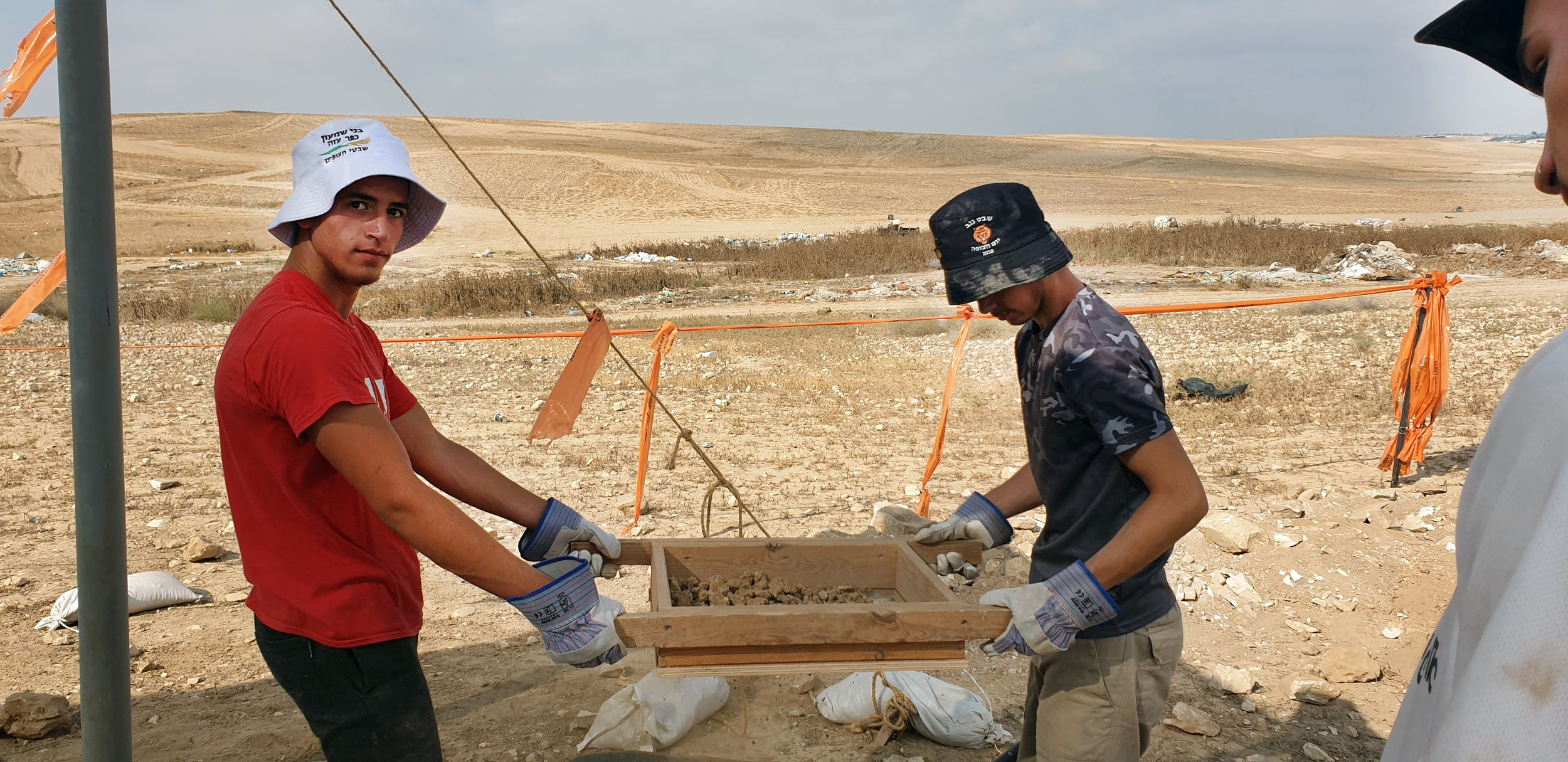 Youth participating in the excavation.  Photo: Anat Rasiuk, Israel Antiquities Authority.