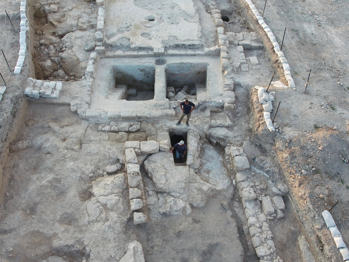 Aerial view of the winepresses and adjacent ritual bath at Ancient Usha.  Photo: Assaf Peretz, Courtesy of the Israel Antiquities Authority.