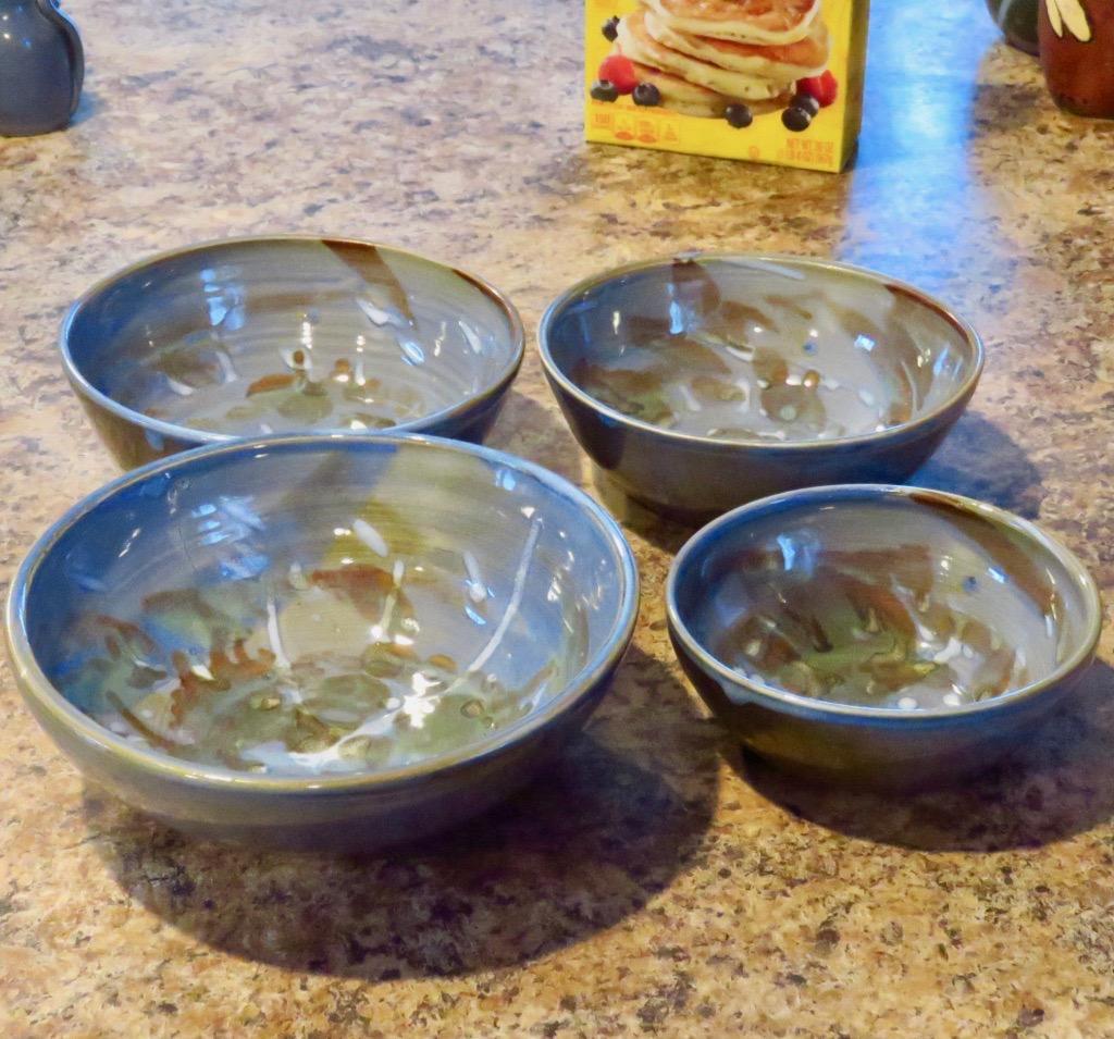 Ceramic Serving Bowls Set Nesting Bowls Handmade Pottery Wedding Gift Pottery Bowls Ceramic Nesting Bowls In Blue Green Set Of 4 Karen O Lone Hahn