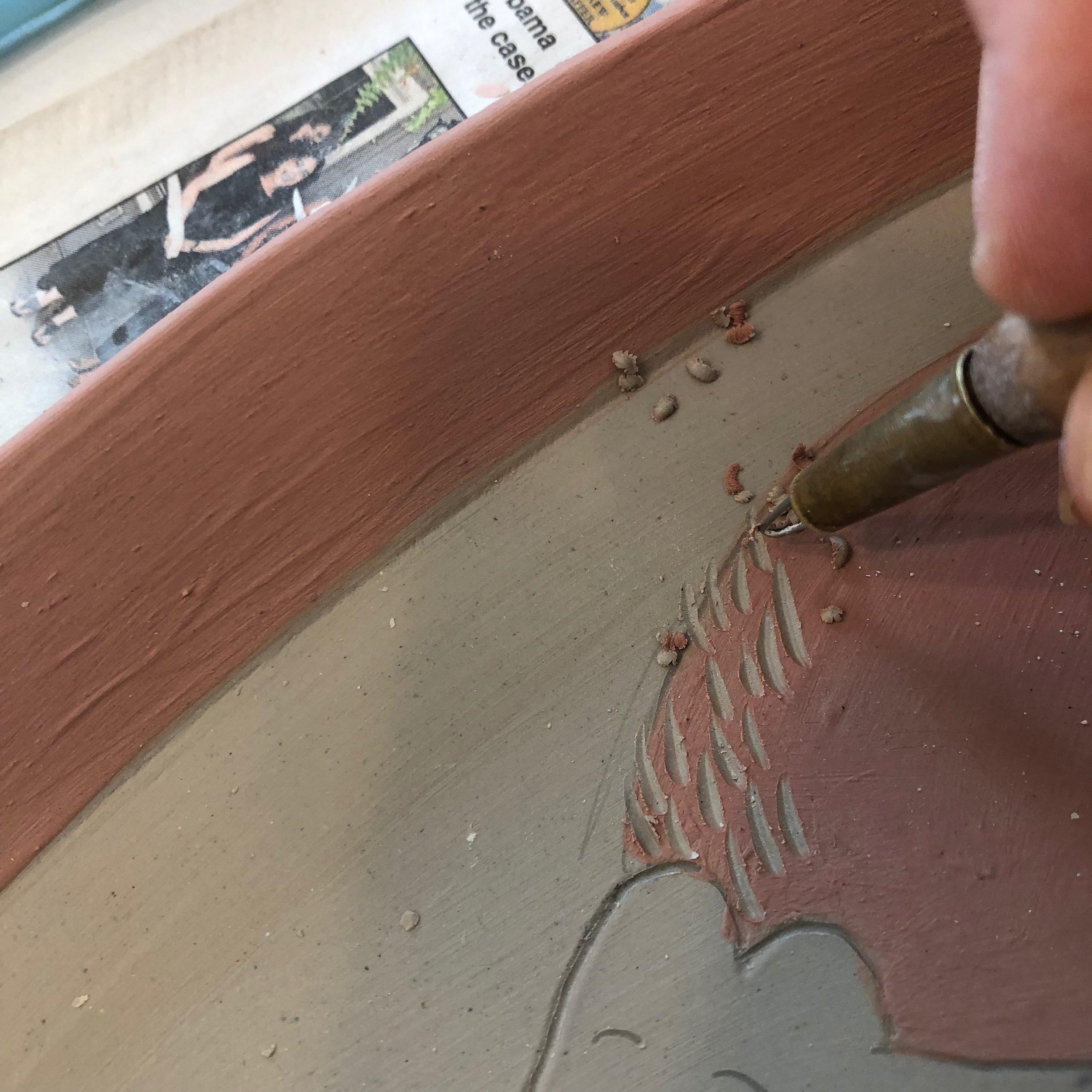 sgrafitto carving