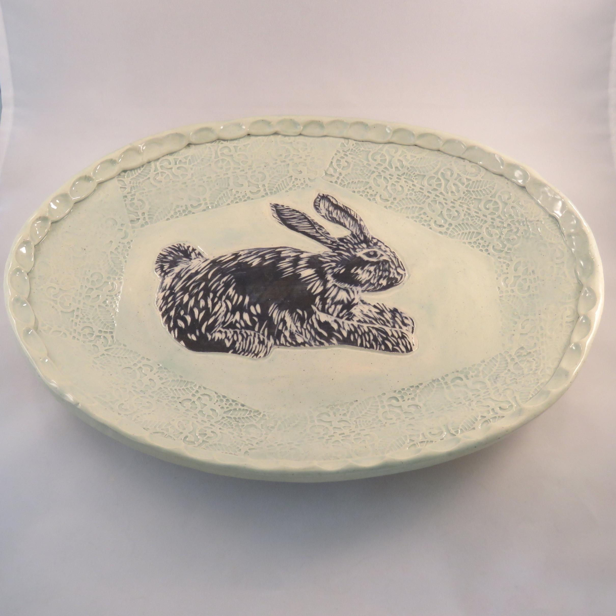 rabbit ceramic platter